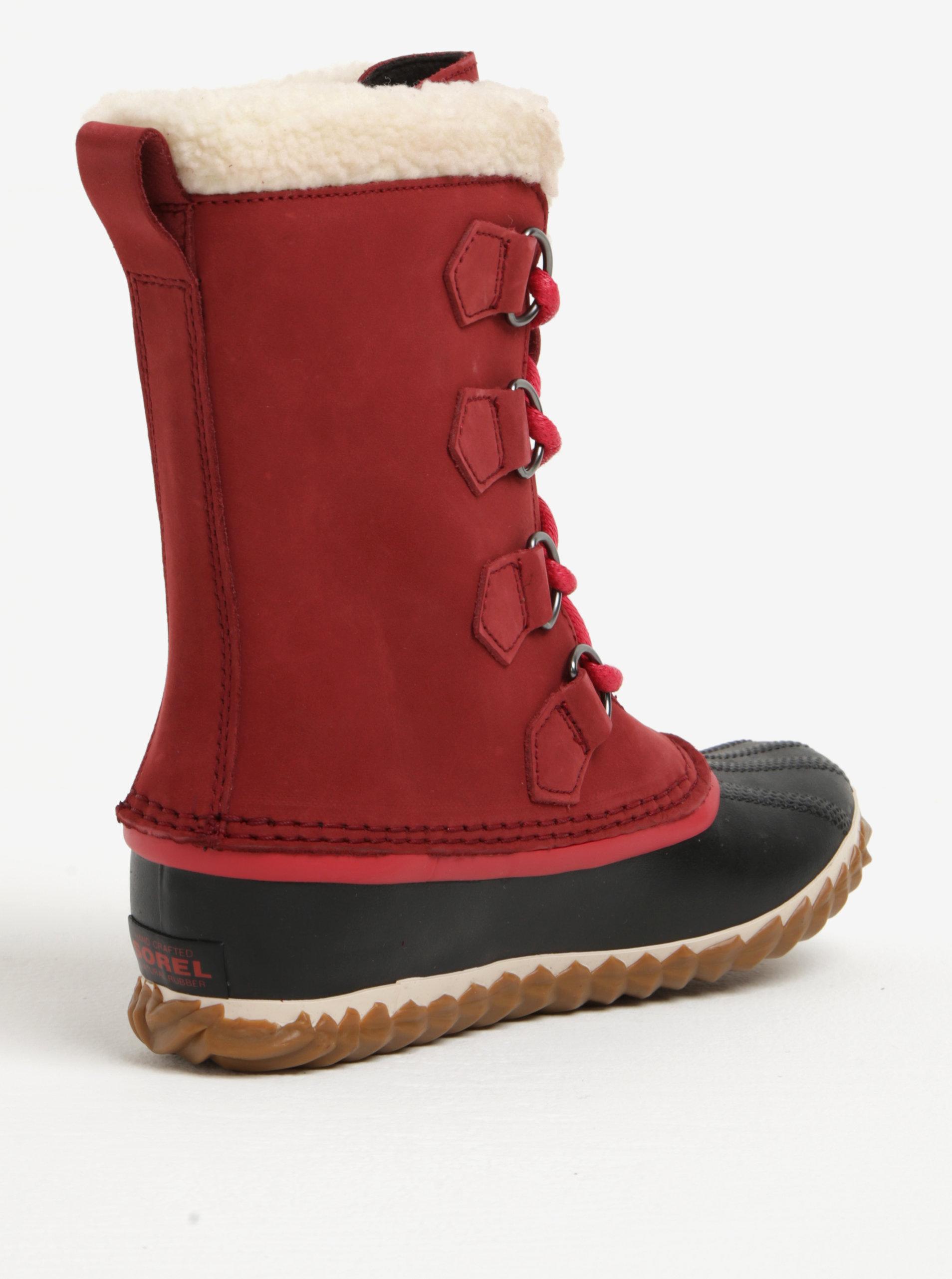 Červené dámské kožené voděodolné zimní boty s umělým kožíškem SOREL ... 52ccc95e389