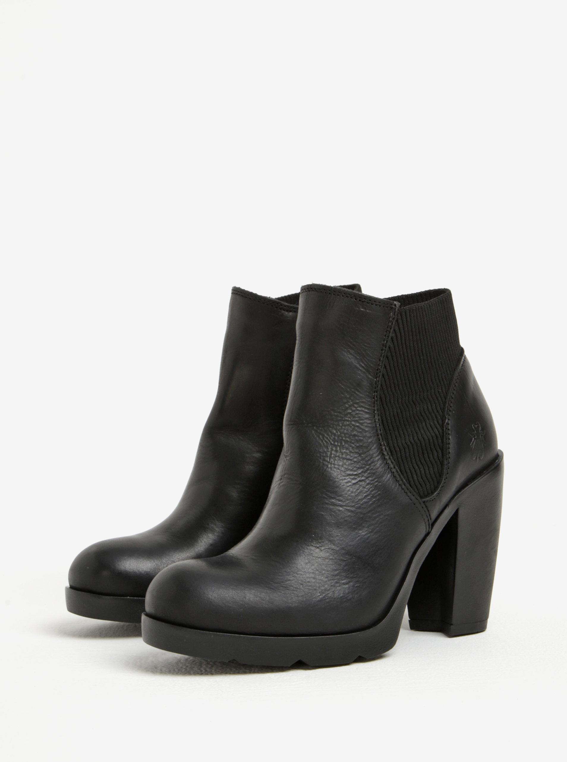 34893e2b625b Čierne dámske kožené chelsea topánky na vysokom podpätku Fly London ...