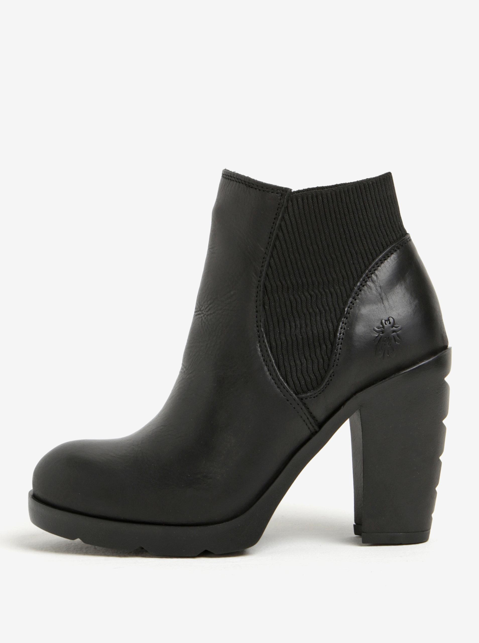Černé dámské kožené chelsea boty na vysokém podpatku Fly London ... e9132da858