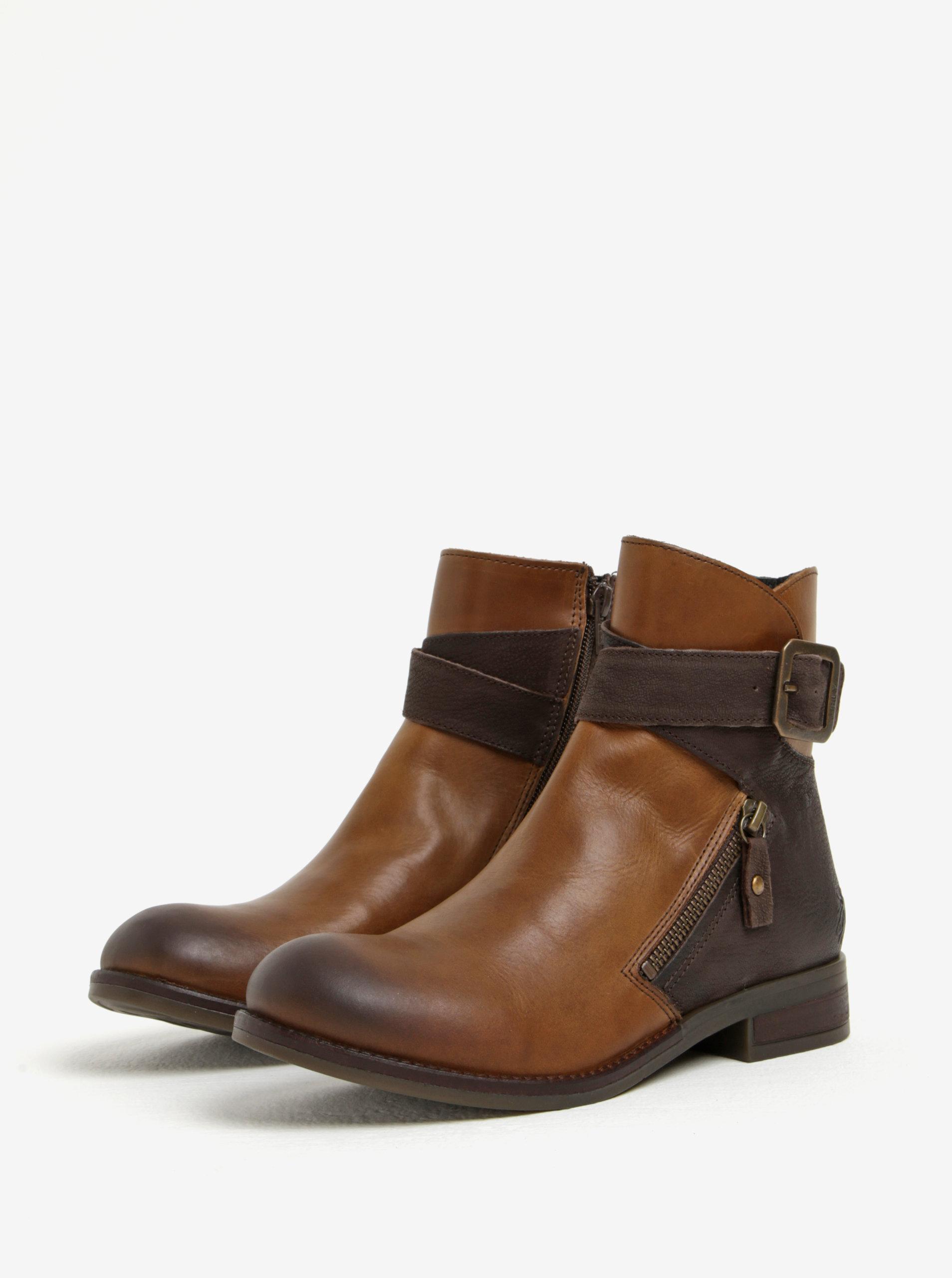 Hnědé dámské kožené kotníkové boty s přezkou Fly London ... 785ea5bb97