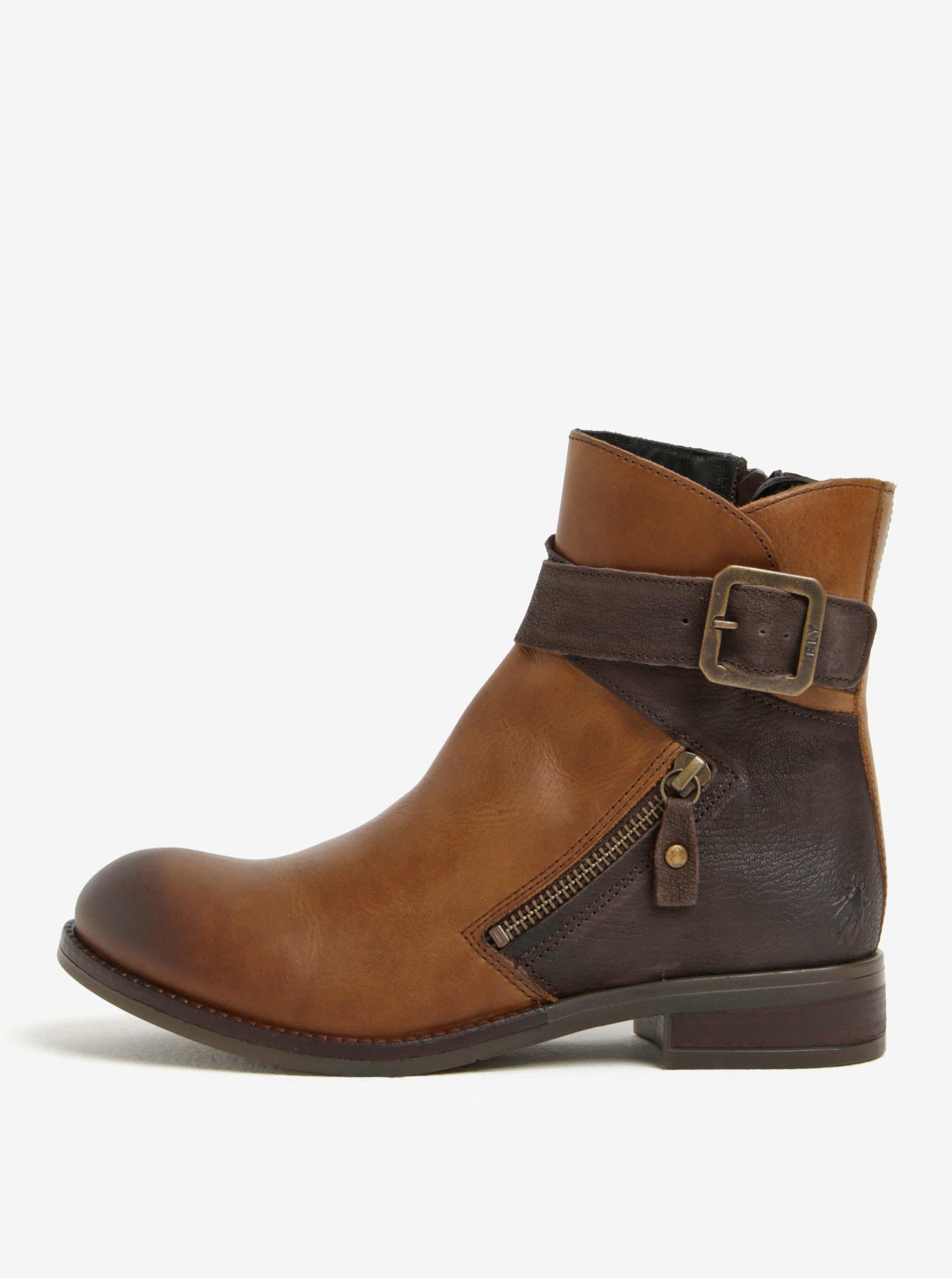 11c6a1d362 Hnedé dámske kožené členkové topánky s prackou Fly London ...
