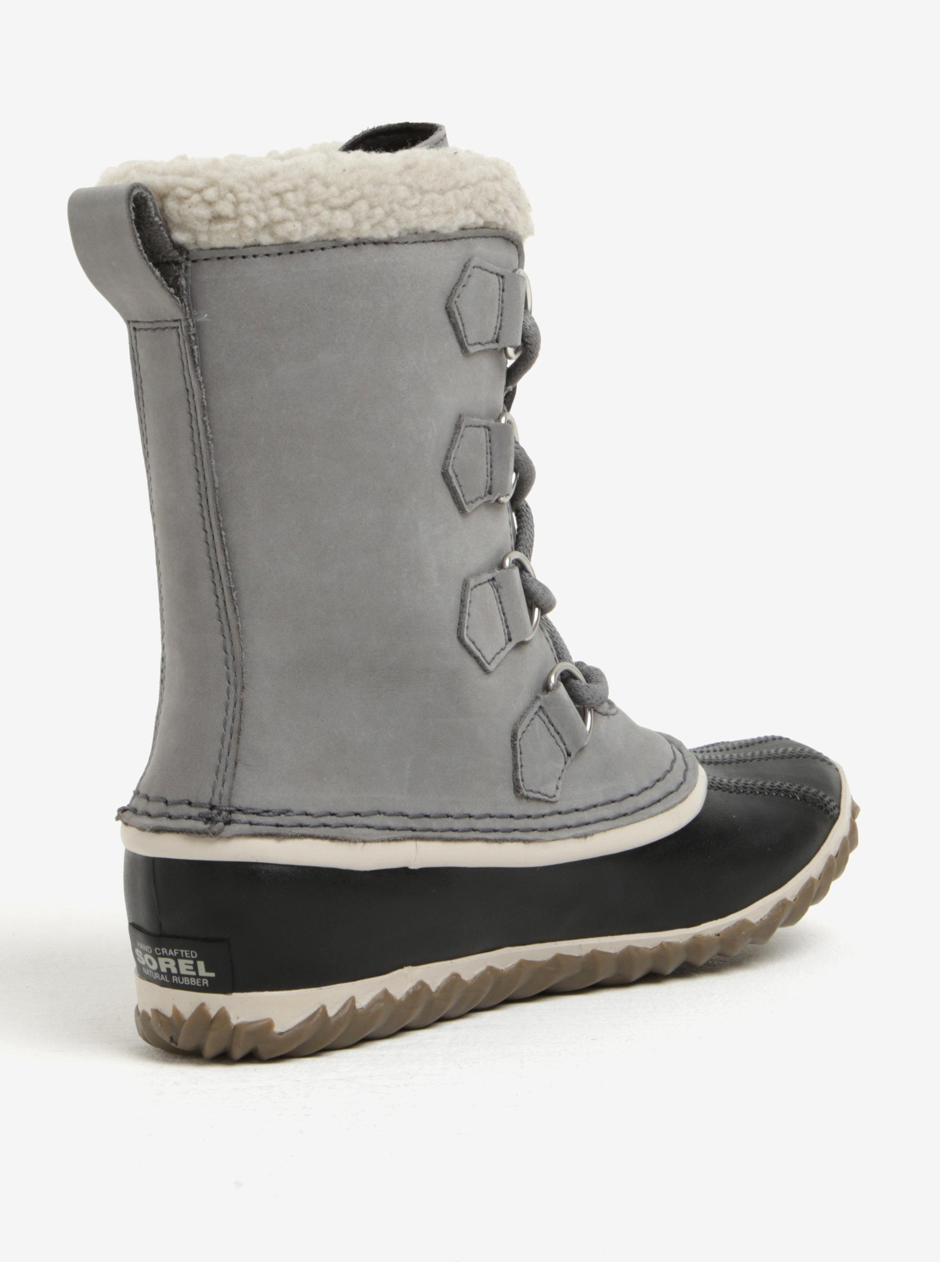 853f8593d81 Šedé dámské kožené voděodolné zimní boty s umělým kožíškem SOREL ...