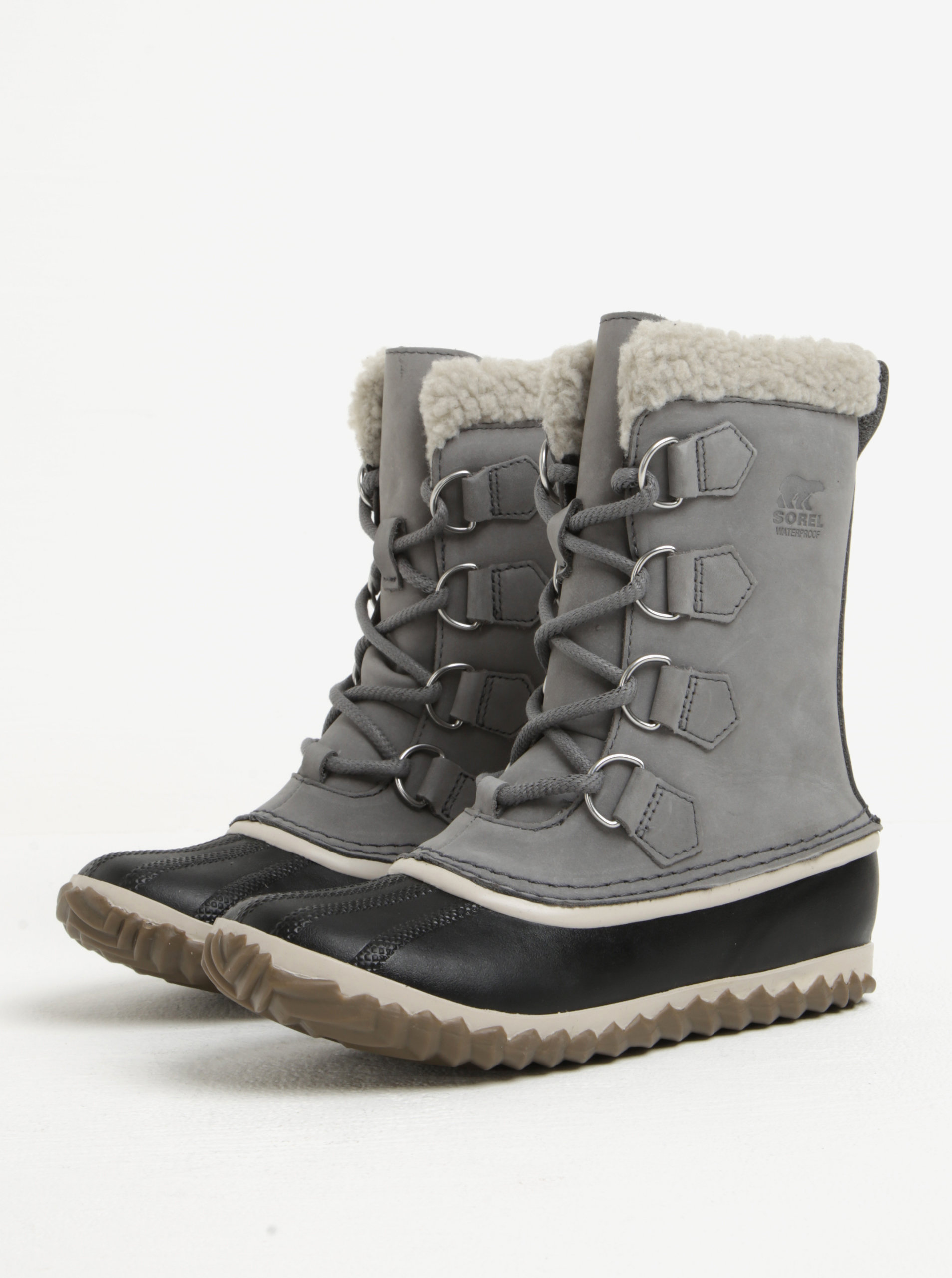 5762c27fb5220 Sivé dámske kožené vodovzdorné zimné topánky s umelým kožúškom SOREL ...
