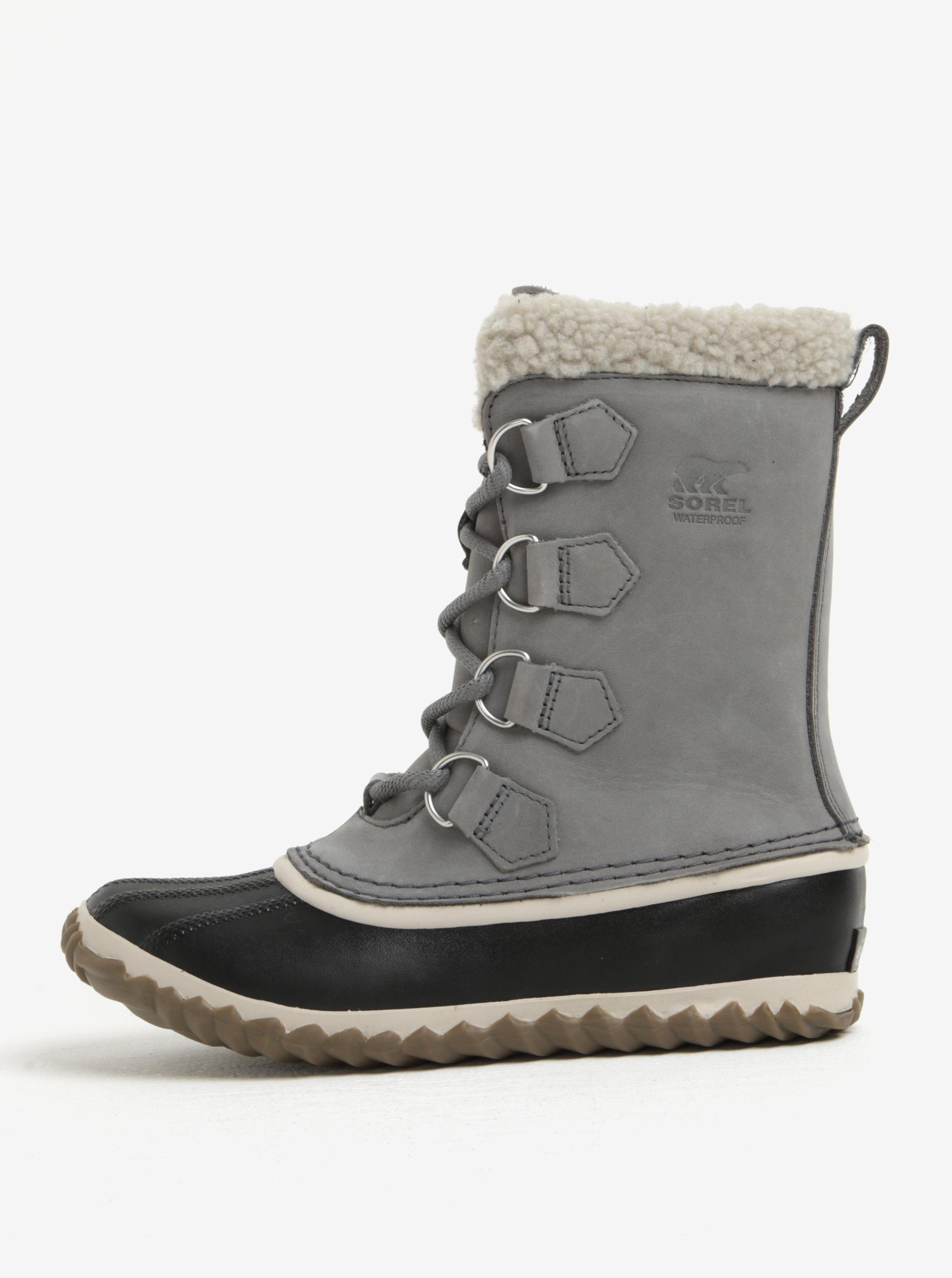 8ae0cd172195 Sivé dámske kožené vodovzdorné zimné topánky s umelým kožúškom SOREL ...