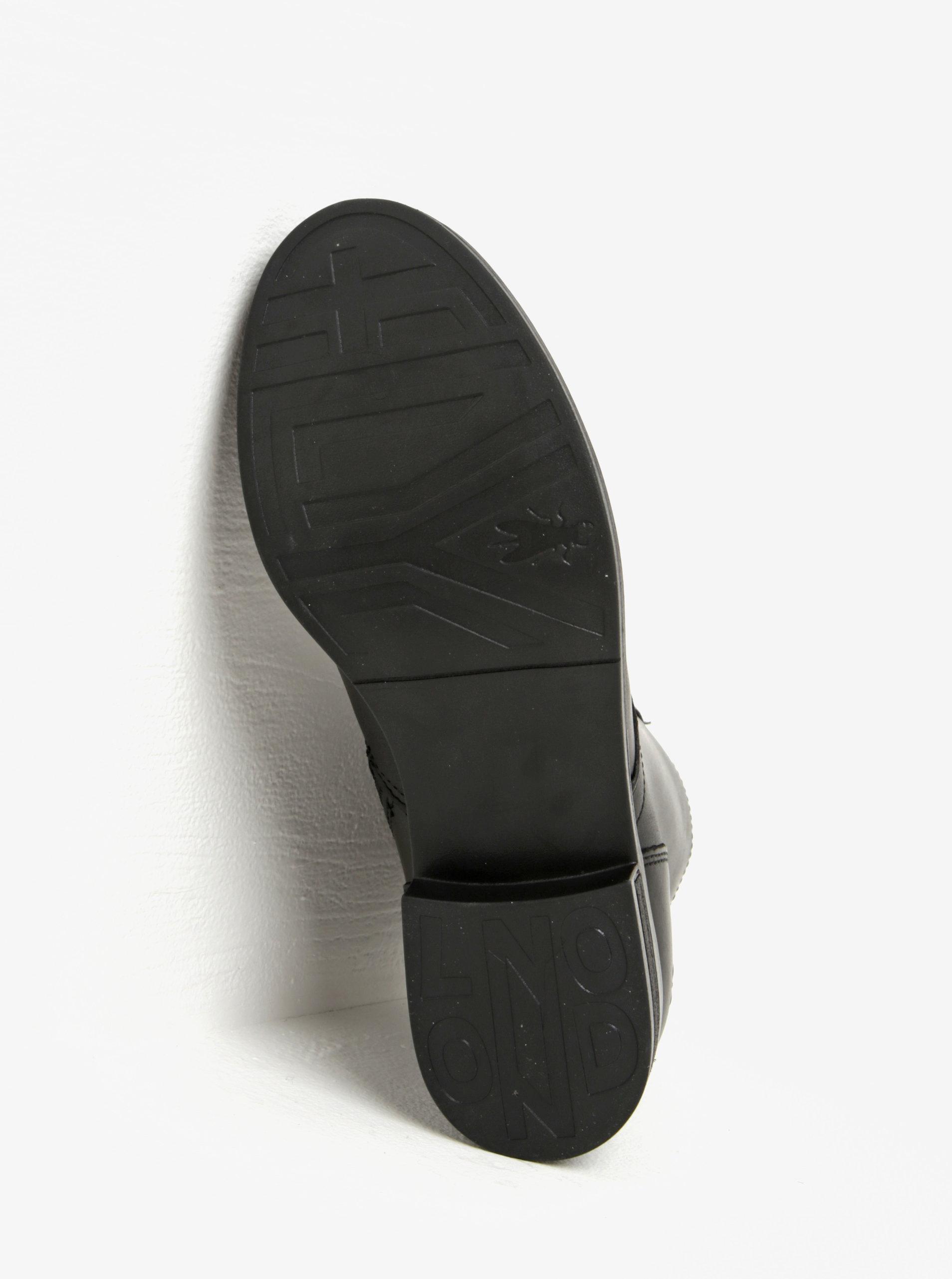 Černé dámské kožené kotníkové boty se šněrováním Fly London - Akční ... 499691d6f5