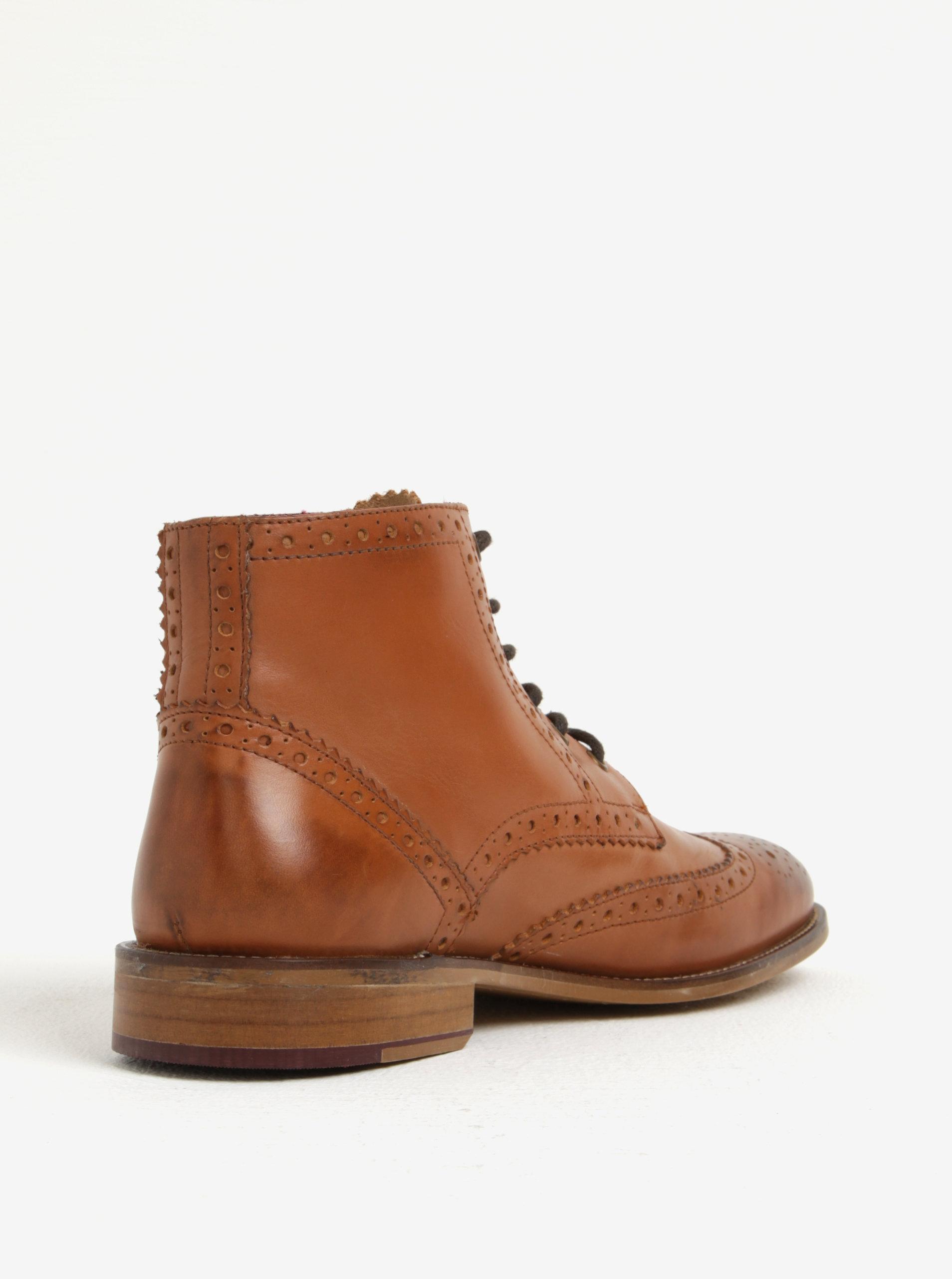 76e27b664365c Hnědé pánské kožené kotníkové brogue boty London Brogues Gatsby High ...