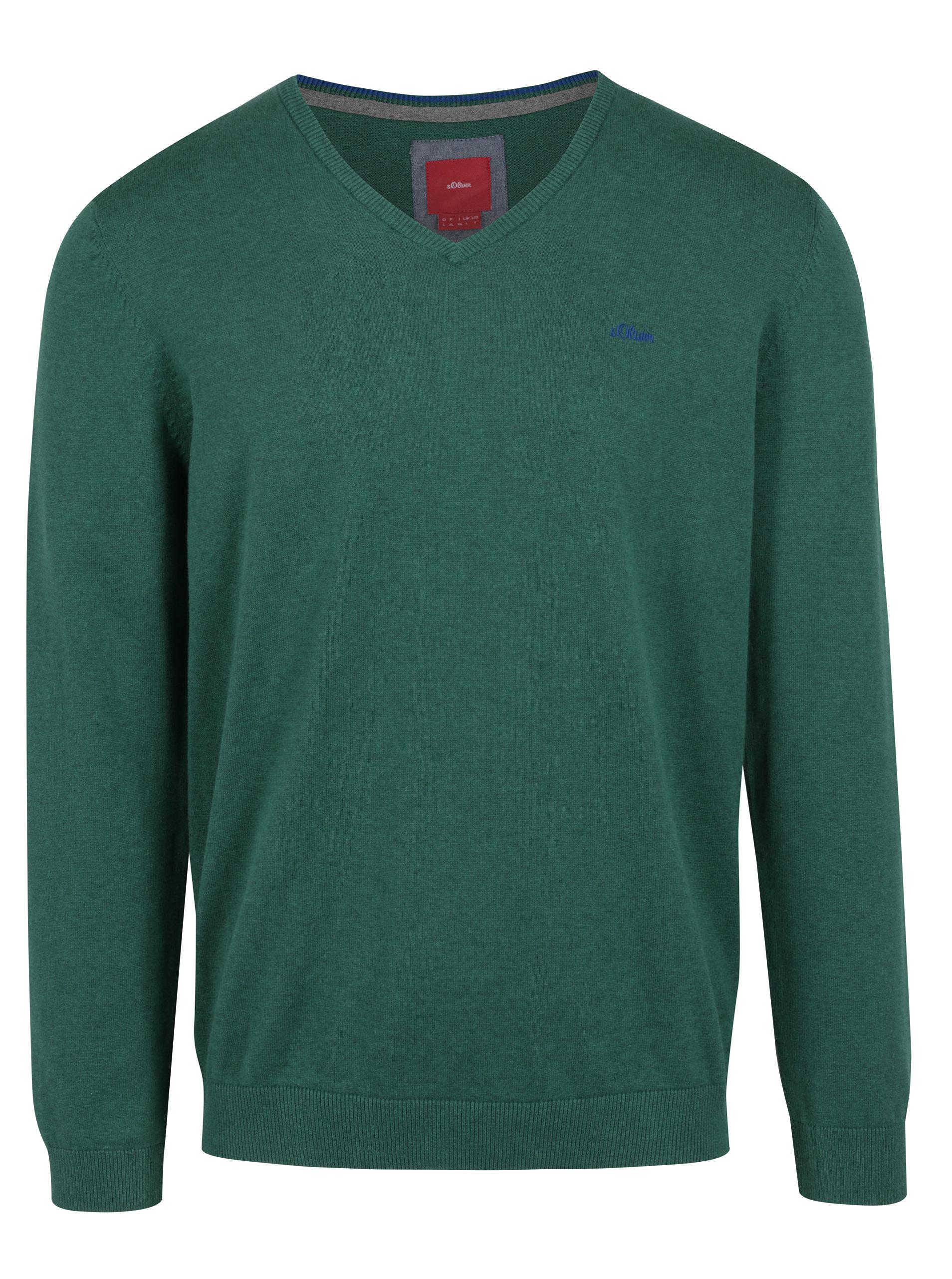 Zelený pánský svetr s véčkovým výstřihem s.Oliver  d4b0a40c4f