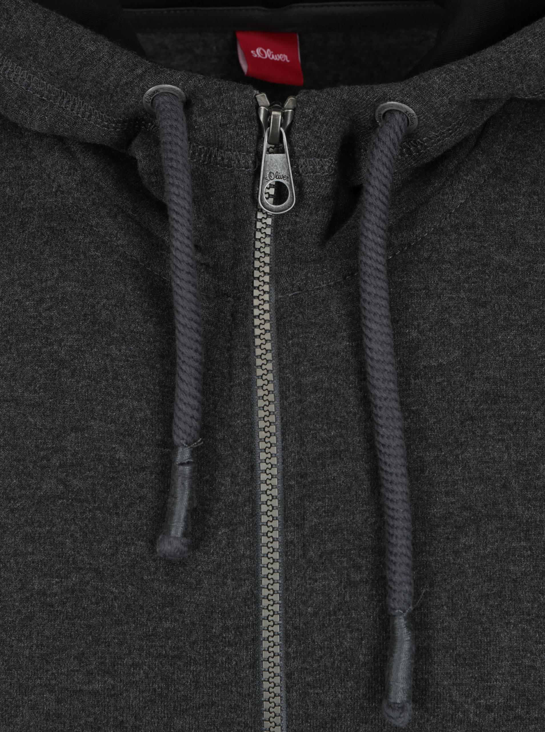 c900bc2eed5 Tmavě šedá pánská žíhaná mikina na zip s kapucí s.Oliver ...