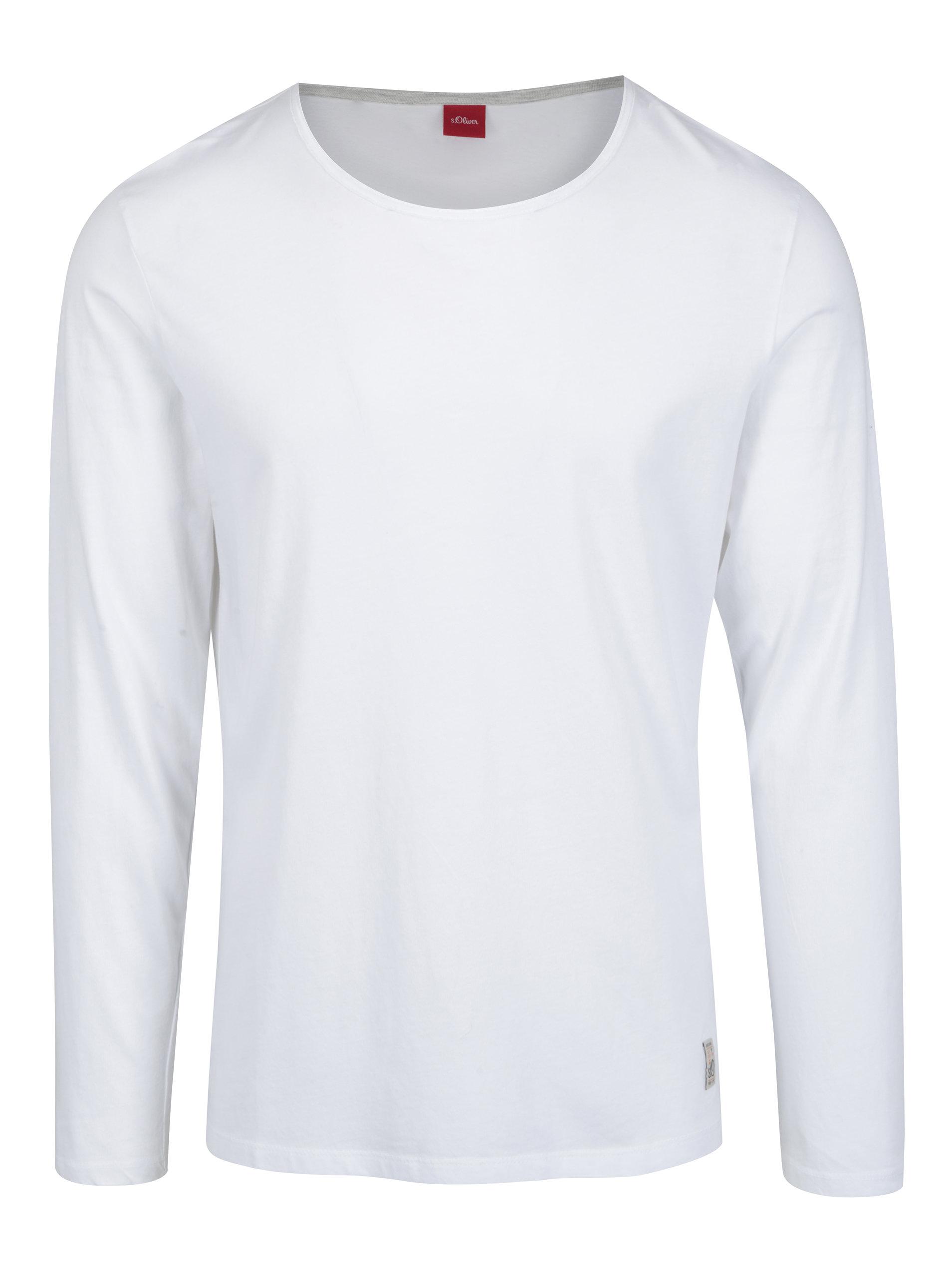 63599fcd30 Bílé pánské slim fit tričko s dlouhým rukávem s.Oliver ...