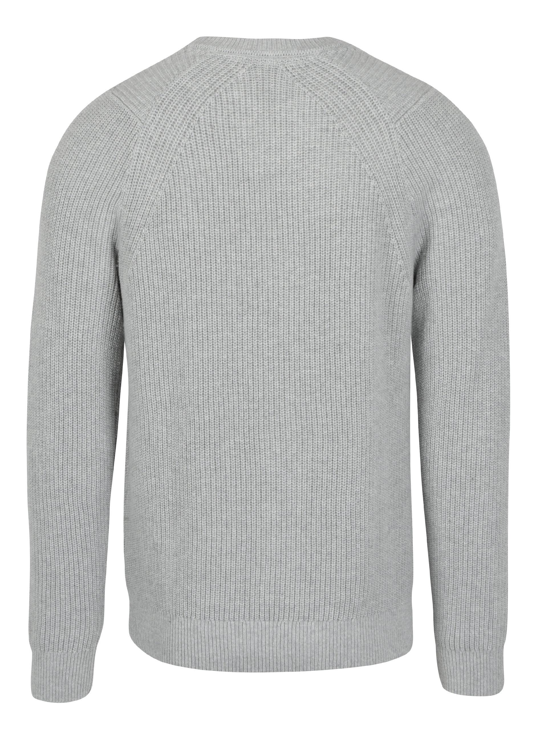 f54578e21695 Svetlosivý pánsky sveter s prímesou vlny Calvin Klein Jeans Spotton ...