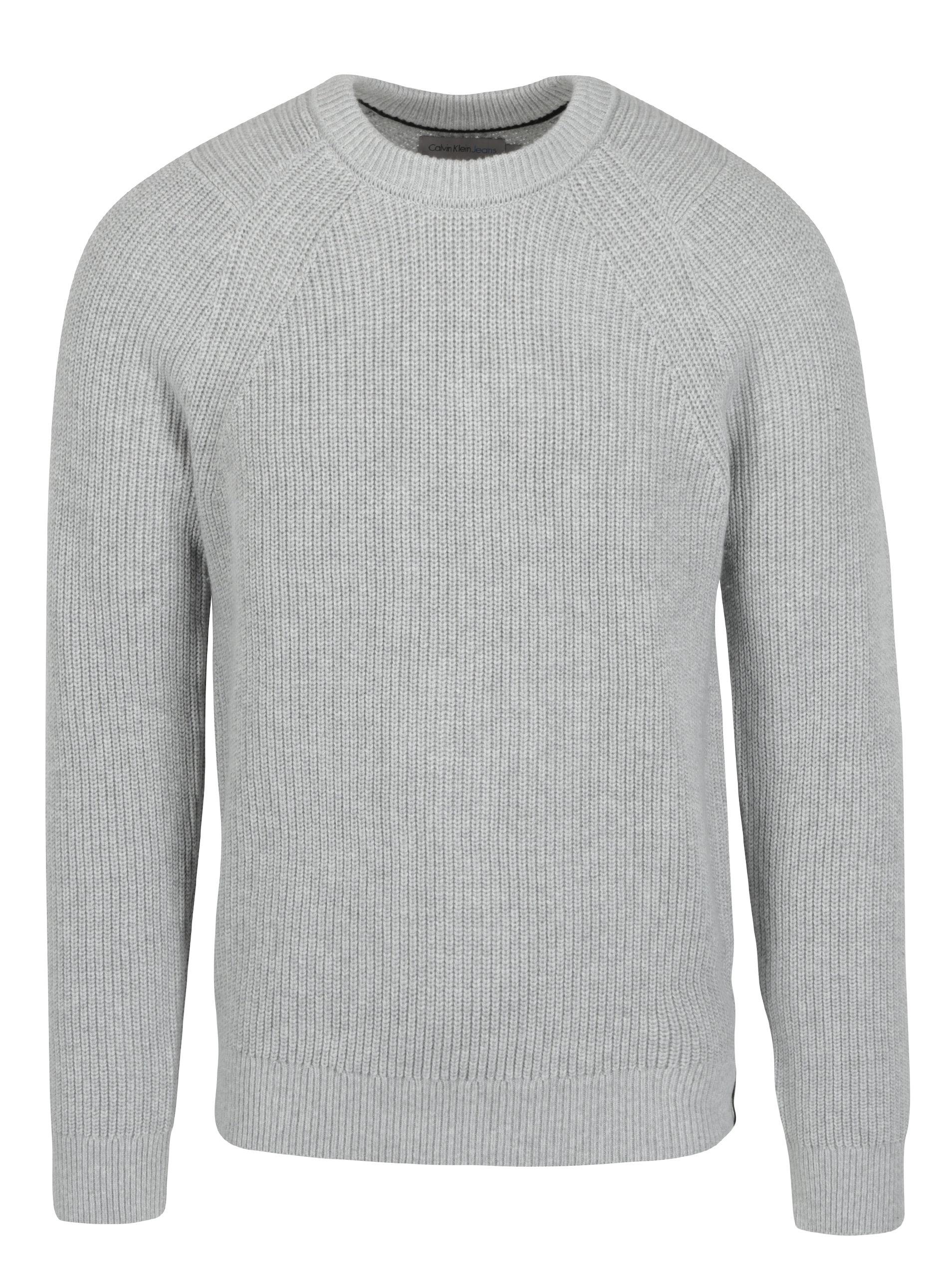 60d62570d8 Svetlosivý pánsky sveter s prímesou vlny Calvin Klein Jeans Spotton ...