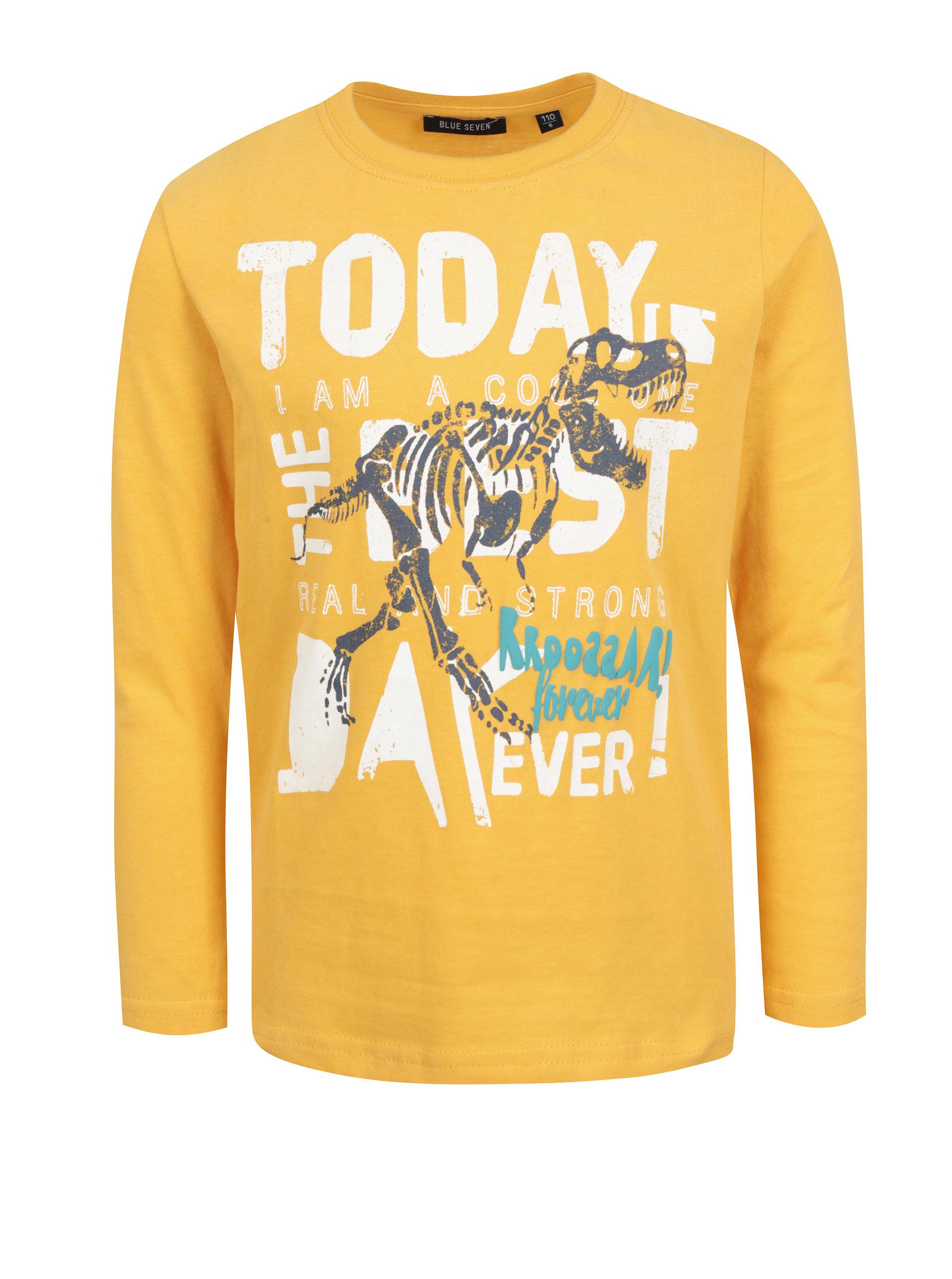 ce44ab7f10c7 Žlté chlapčenské tričko s farebnou potlačou Blue Seven ...