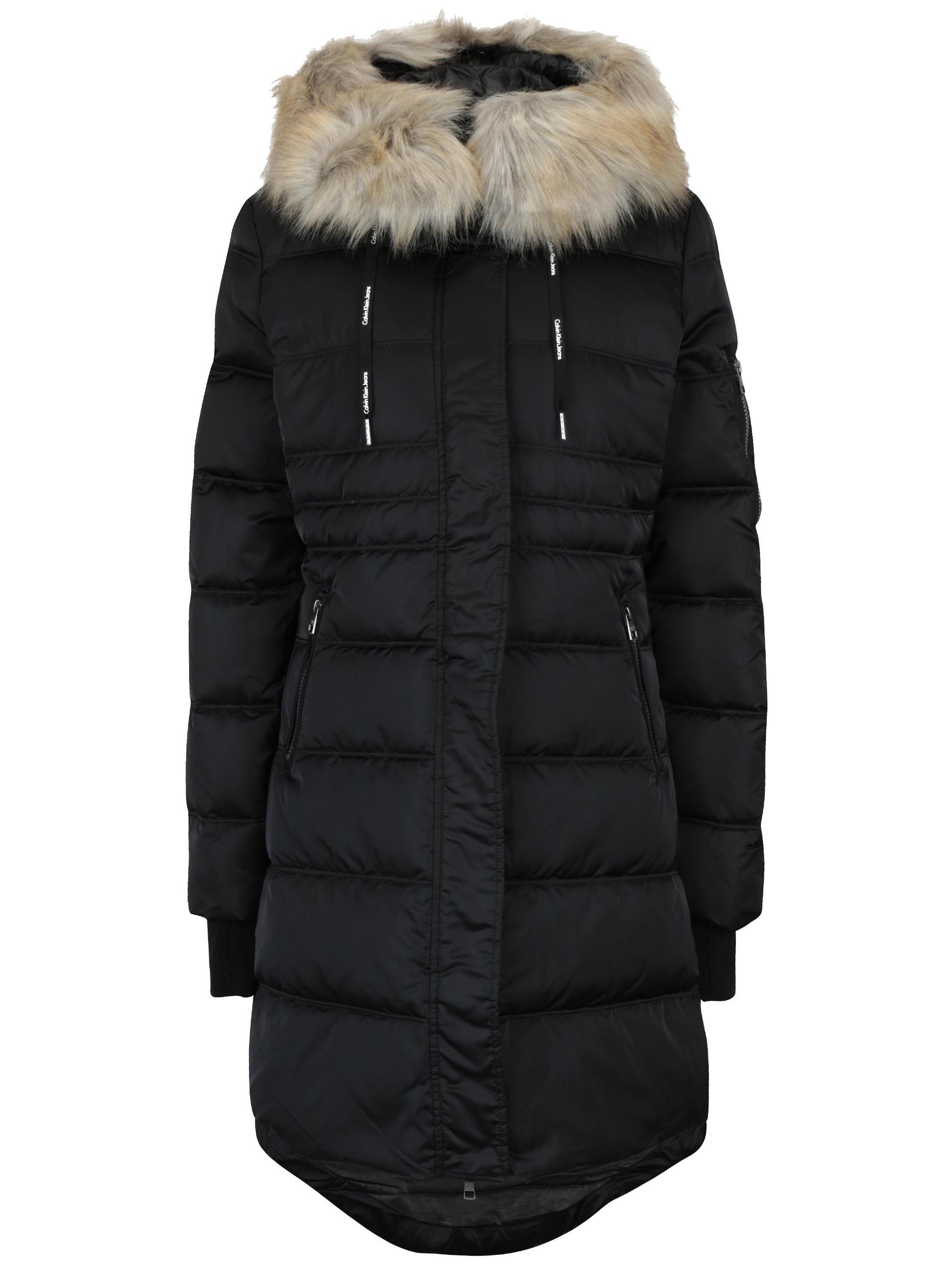 7f0fbb160b Čierny dámsky zimný prešívaný páperový kabát Calvin Klein Jeans Opra ...