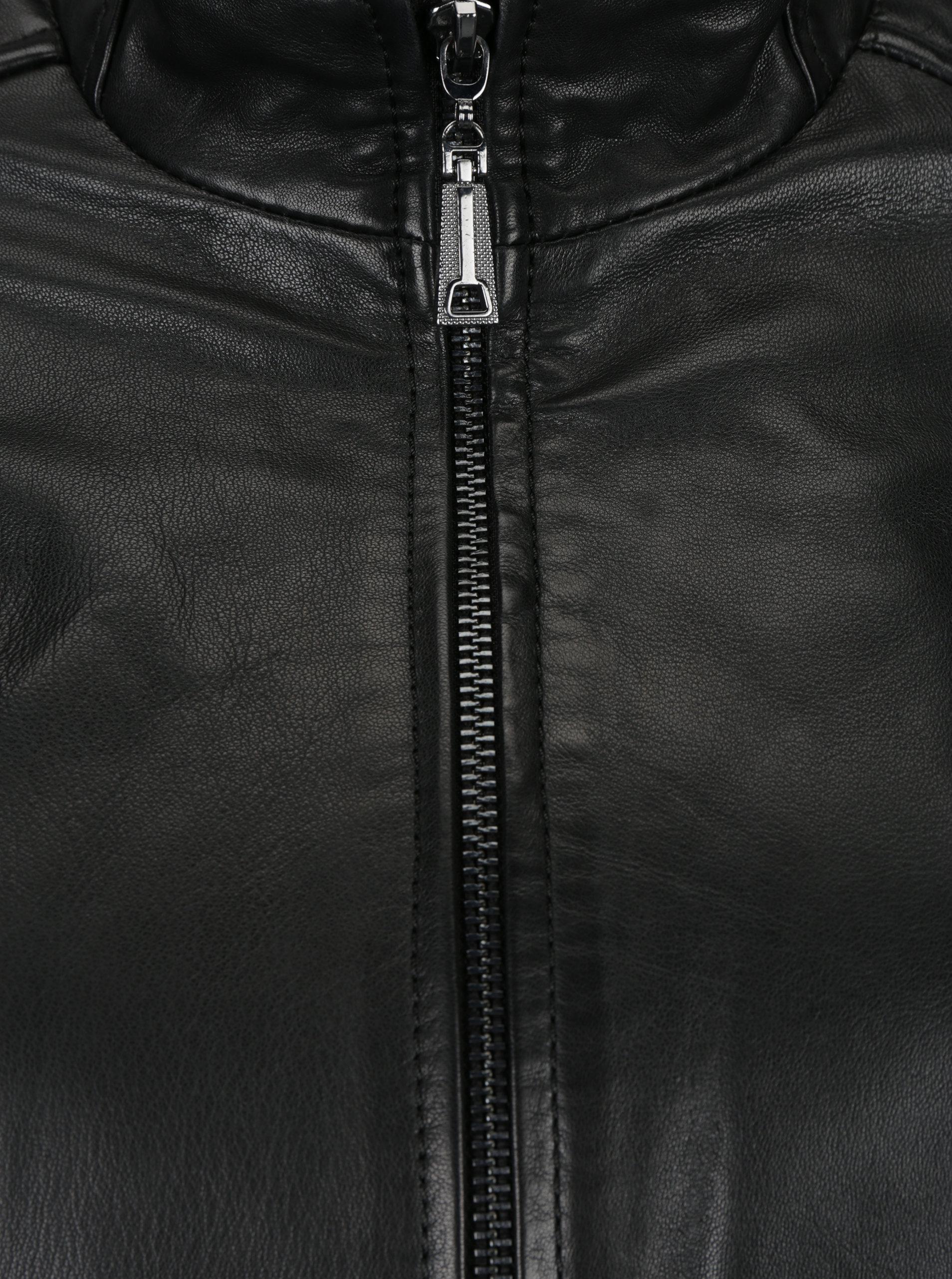 Čierna dámska kožená bunda s prešívanými detailmi KARA Pavlina ... ba025d8561c
