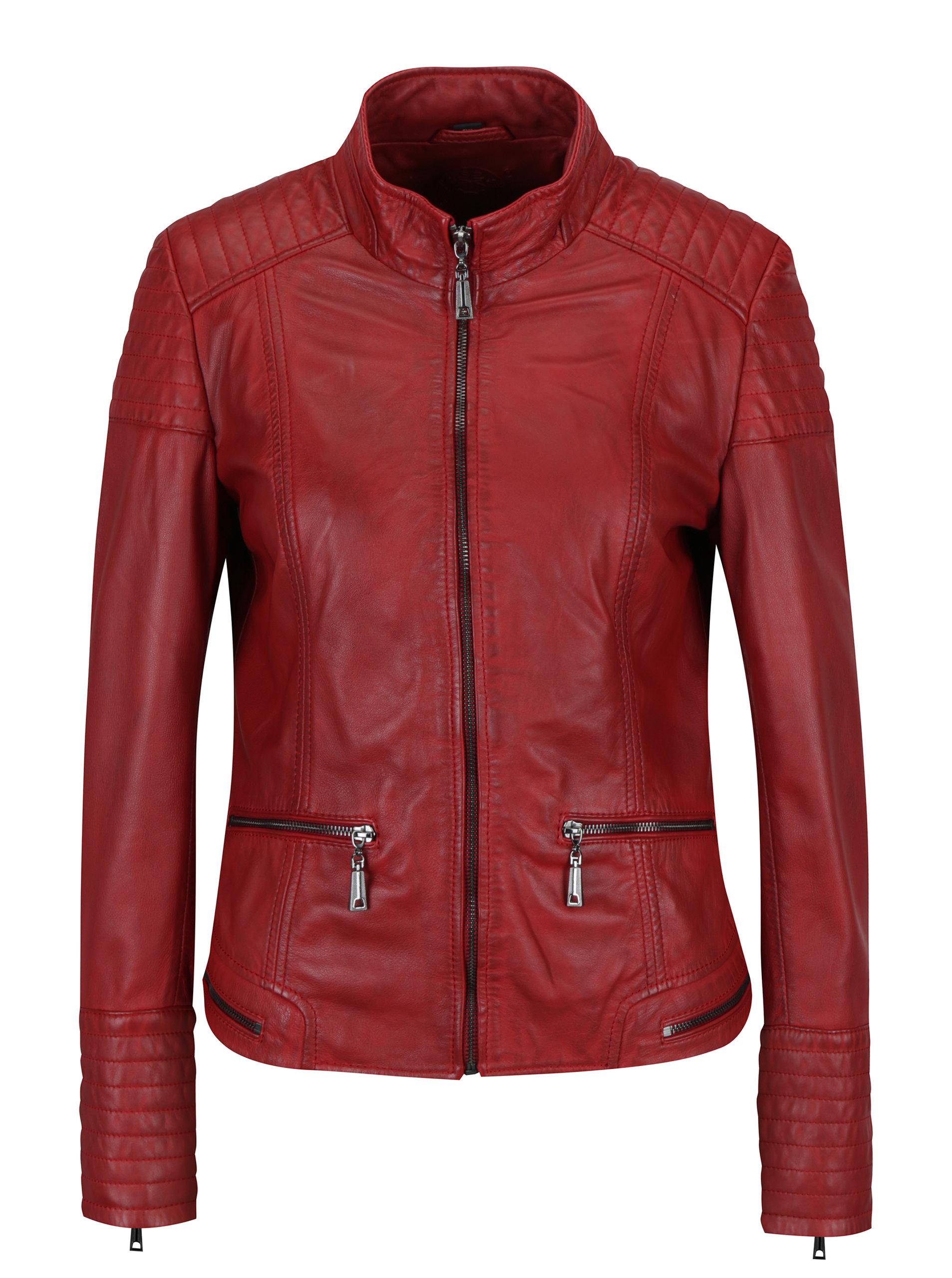 Červená dámská kožená bunda s prošívanými detaily KARA Pavlina ... 653bbffa9bf