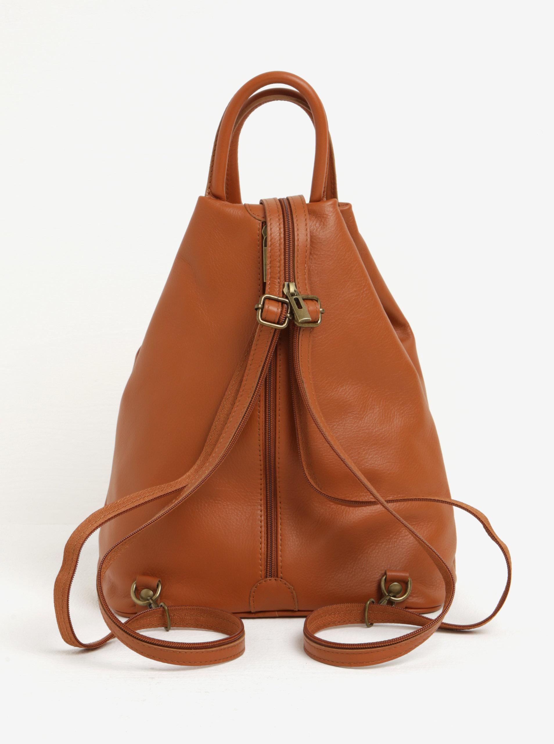 2e11c34282c Hnědý dámský kožený batoh KARA ...