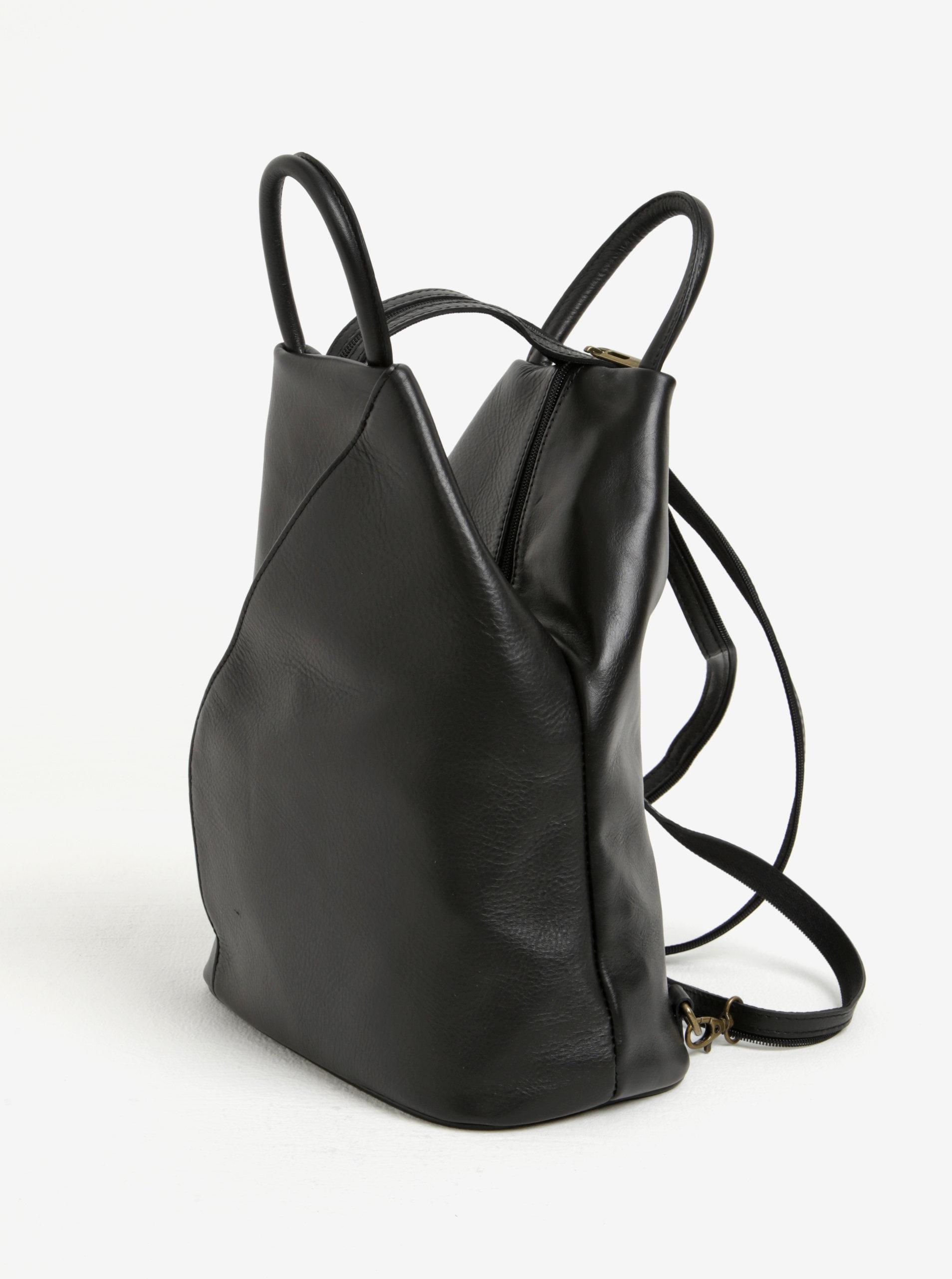 d0ca5422618 Černý dámský kožený batoh KARA ...