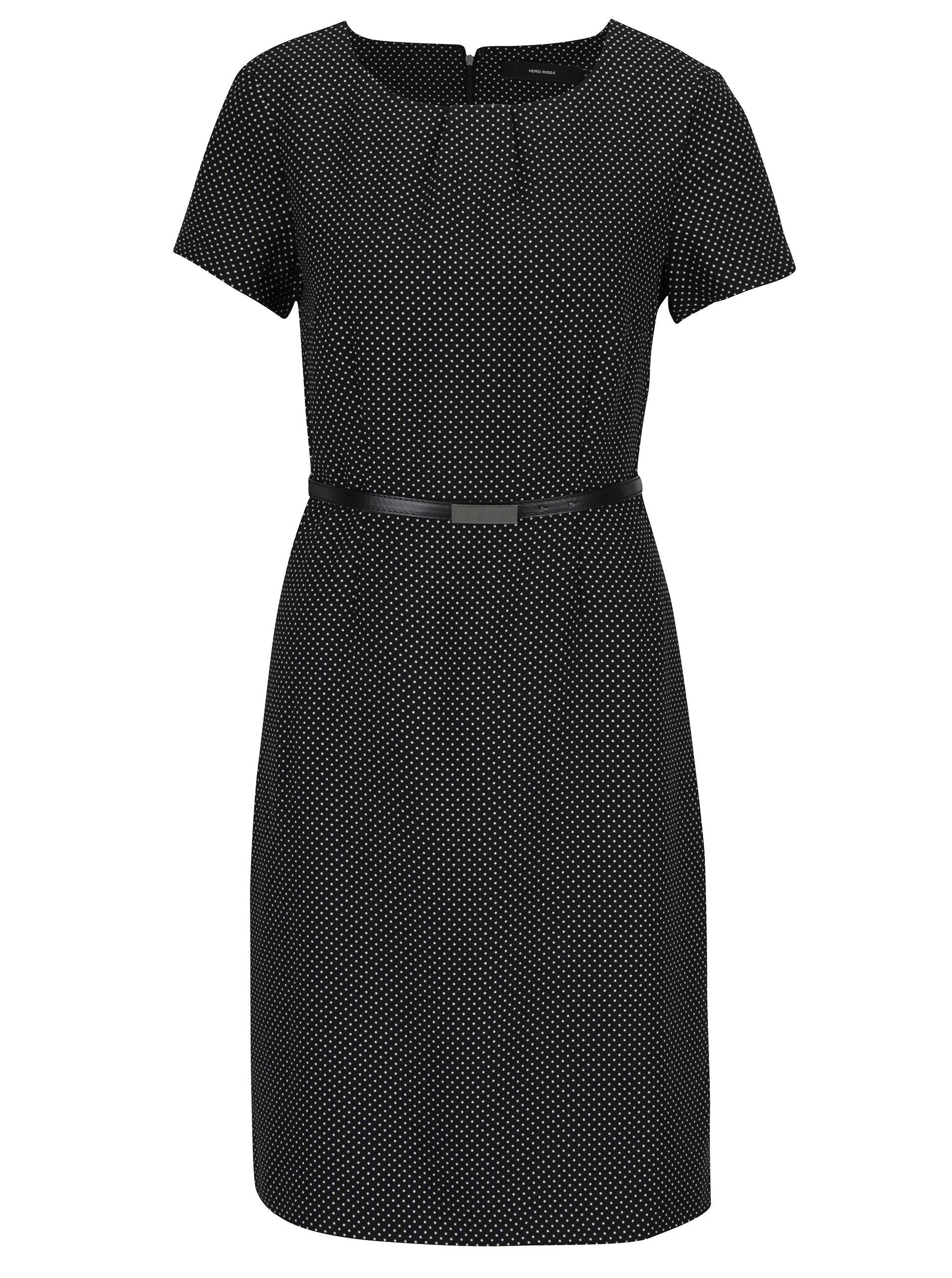 5a72c8fe480d Černé puntíkované šaty s páskem VERO MODA Helen ...