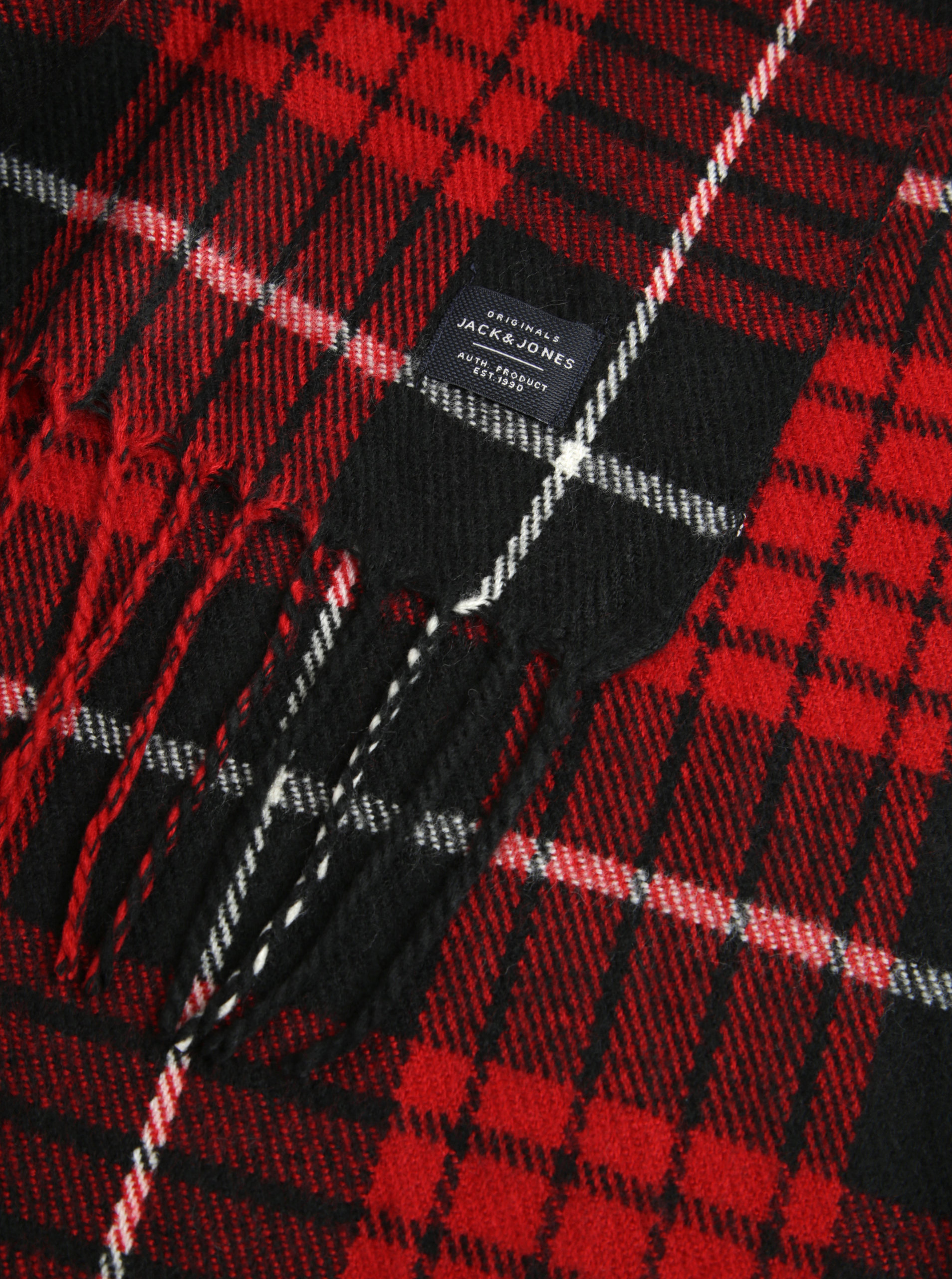 Černo-červená kostkovaná šála Jack   Jones Danny ... 272baff8cd