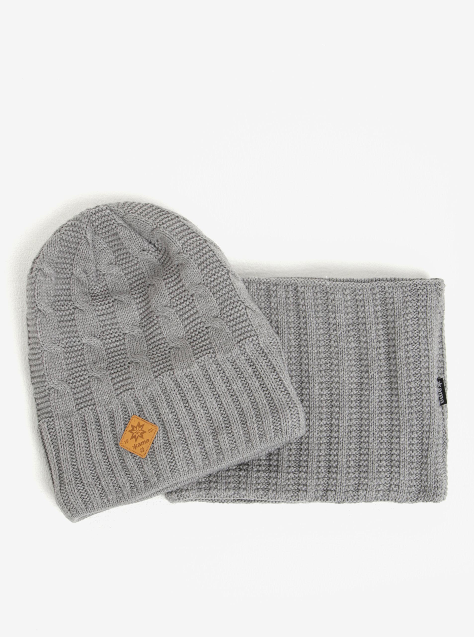 Set dámské zimní čepice a nákrčníku v šedé barvě s příměsí vlny Kama ... 489a2b1c5d