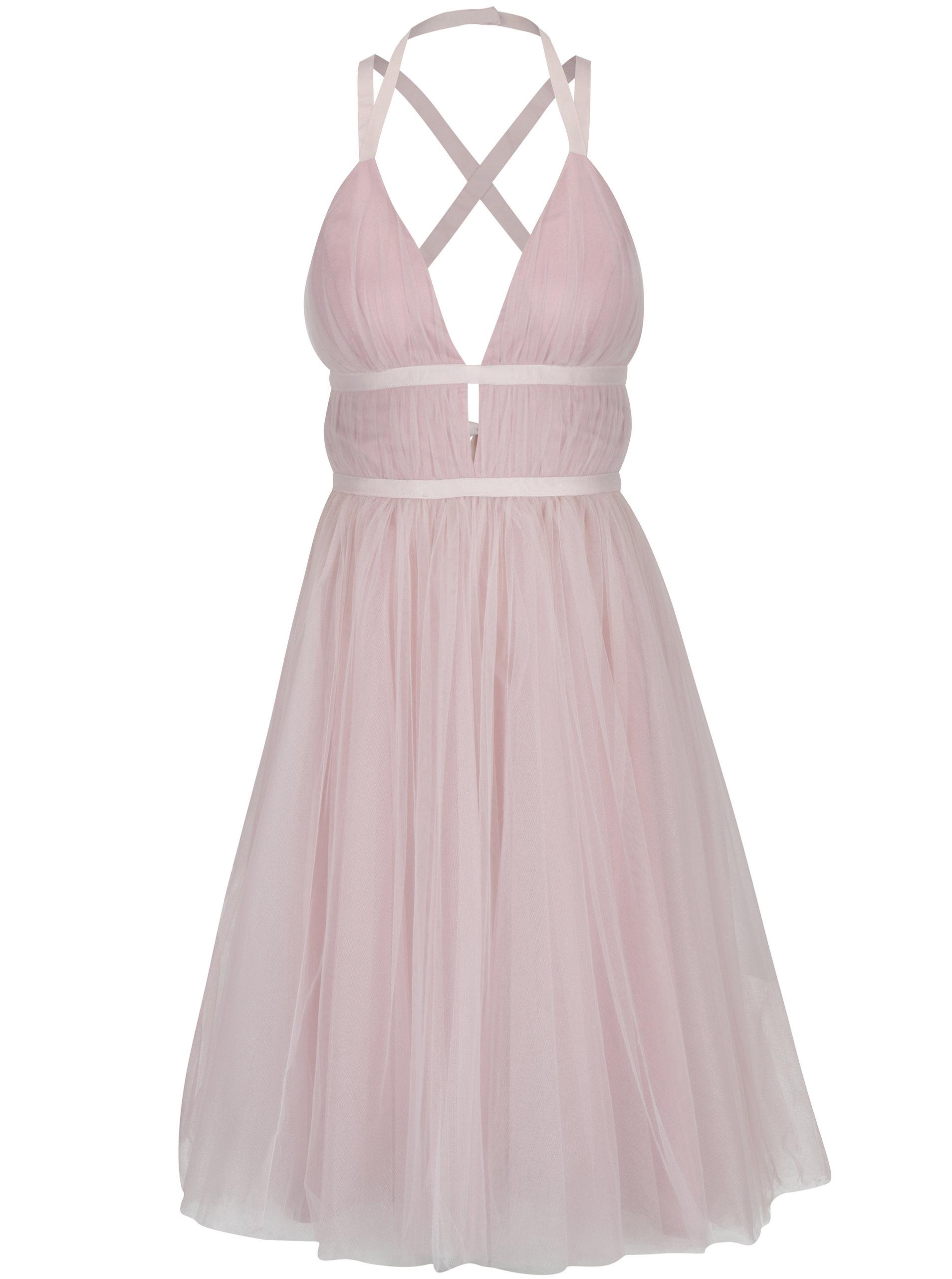 Svetloružové šaty s odhaleným chrbtom Chi Chi London Ivonette ... fd2ebb6b252