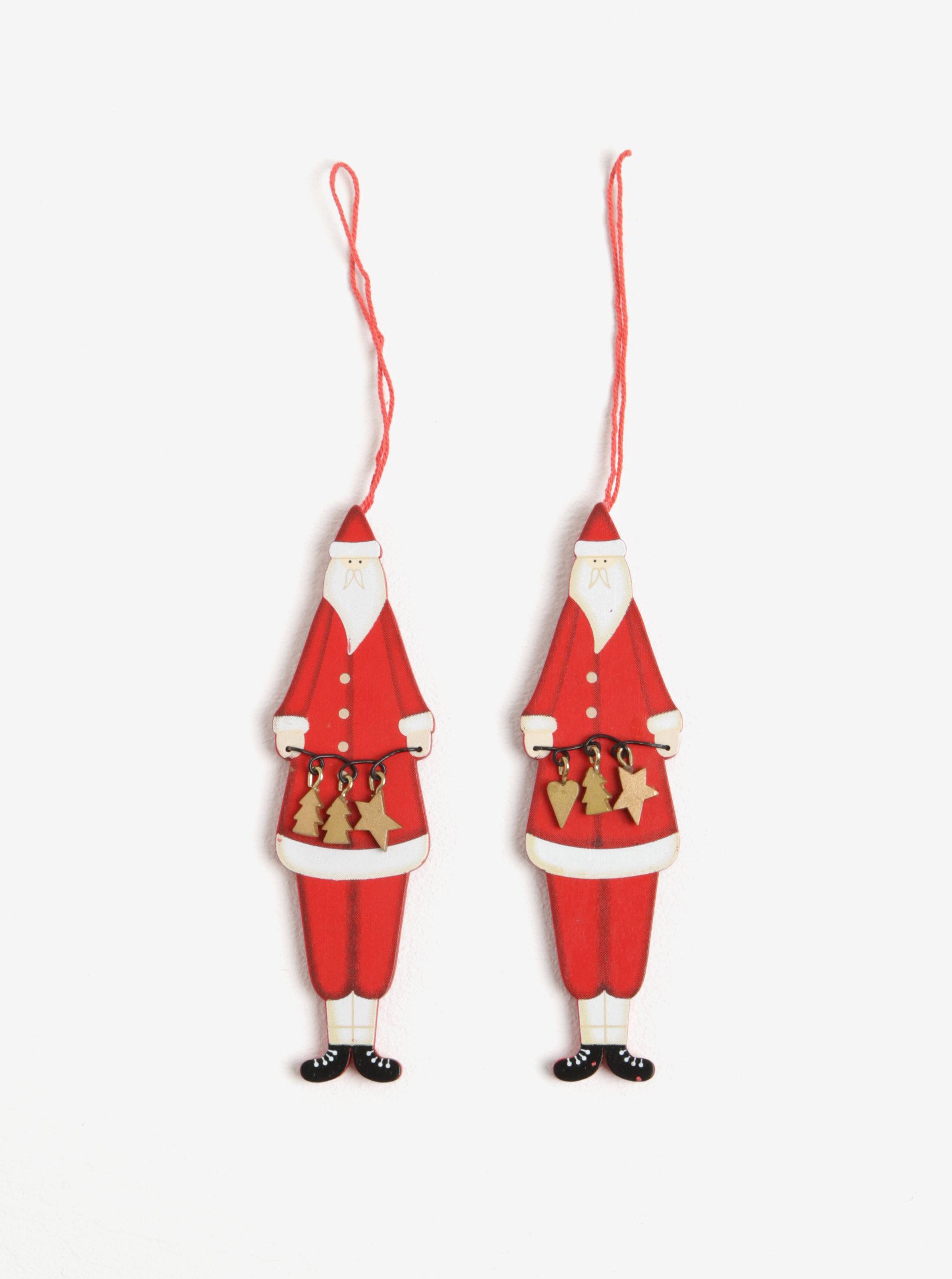 Súprava dvoch červených drevených ozdôb v tvare Santa Clausa Sass   Belle  Nordic Santa ... a7ea3893879