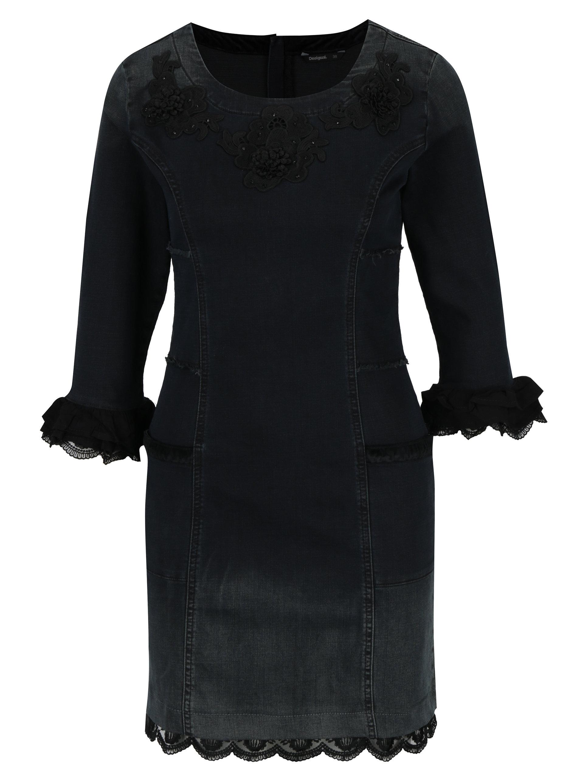 Tmavě šedé džínové šaty s výšivkou a krajkou Desigual Agnés ... 28d6b9ceaa6