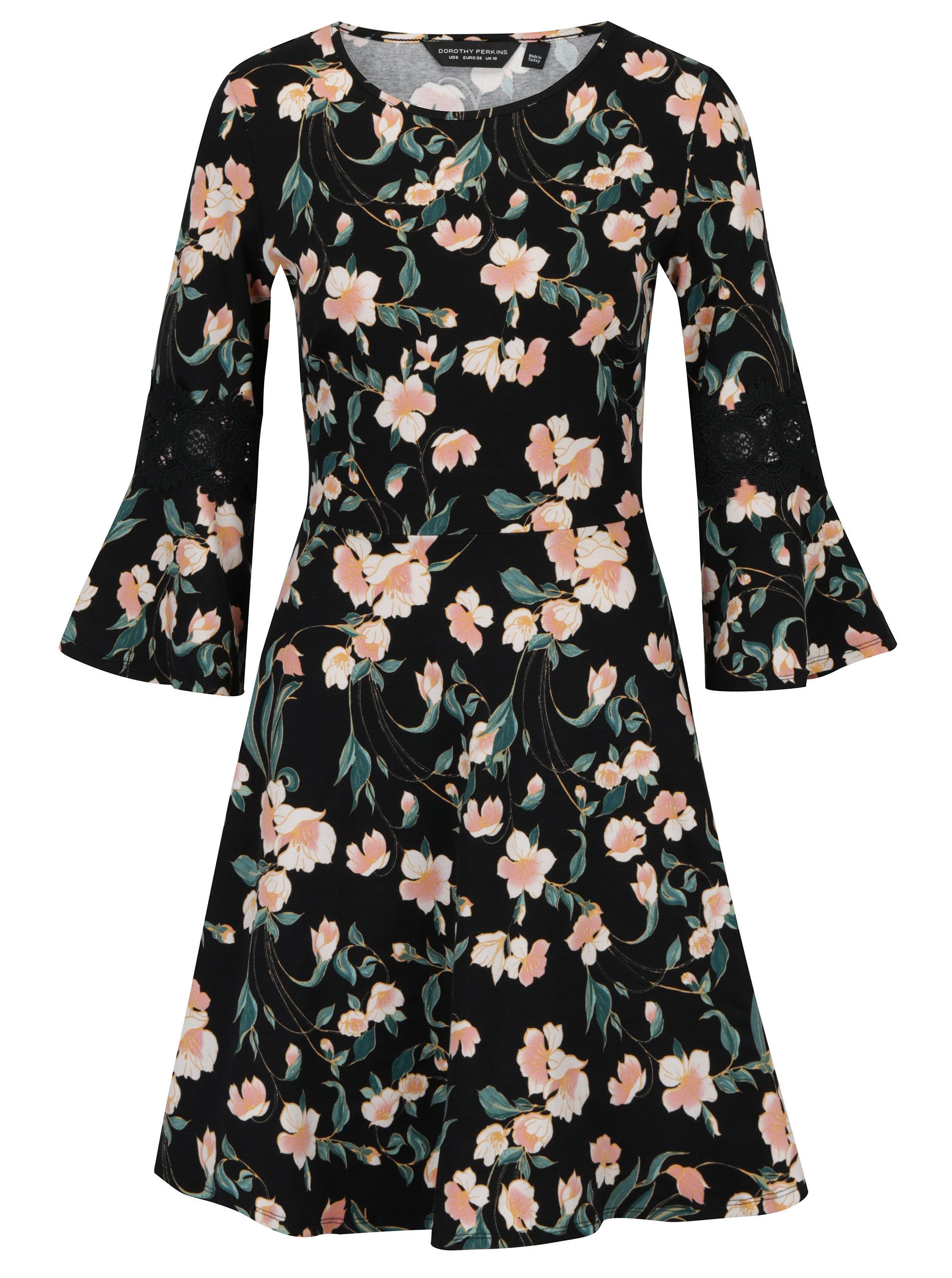 Ružovo–čierne kvetované šaty Dorothy Perkins ... fb2b6361c71