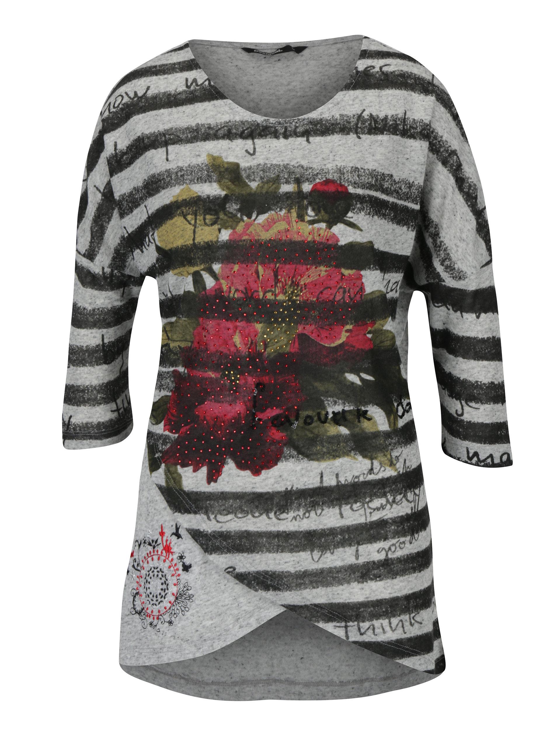 Šedé žíhané tričko s potiskem Desigual Magdalena ... 5e80bde50b8