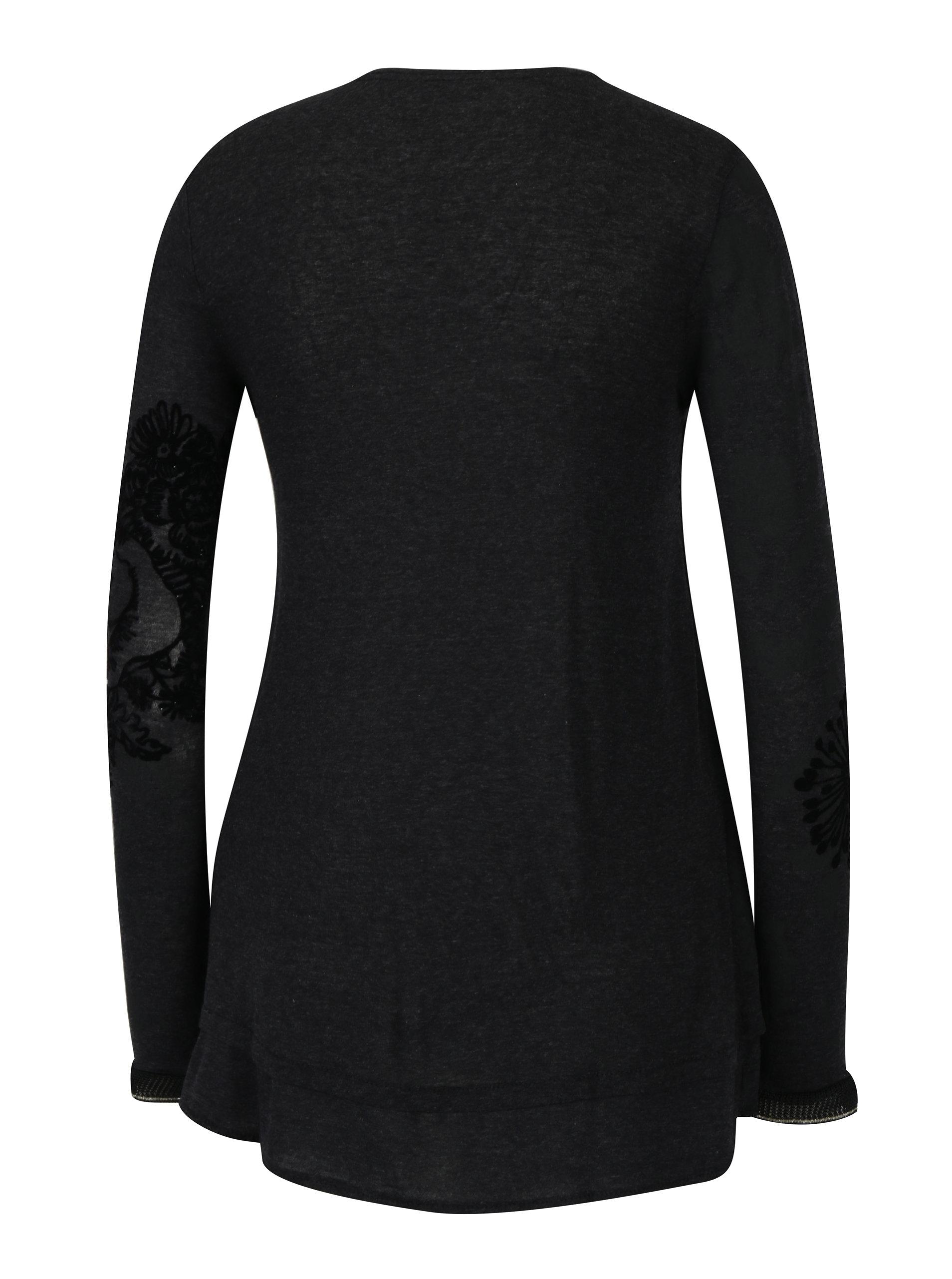 Tmavě šedé tričko se vzorem a sametovým potiskem Desigual Edi ... ce62aa1bb64