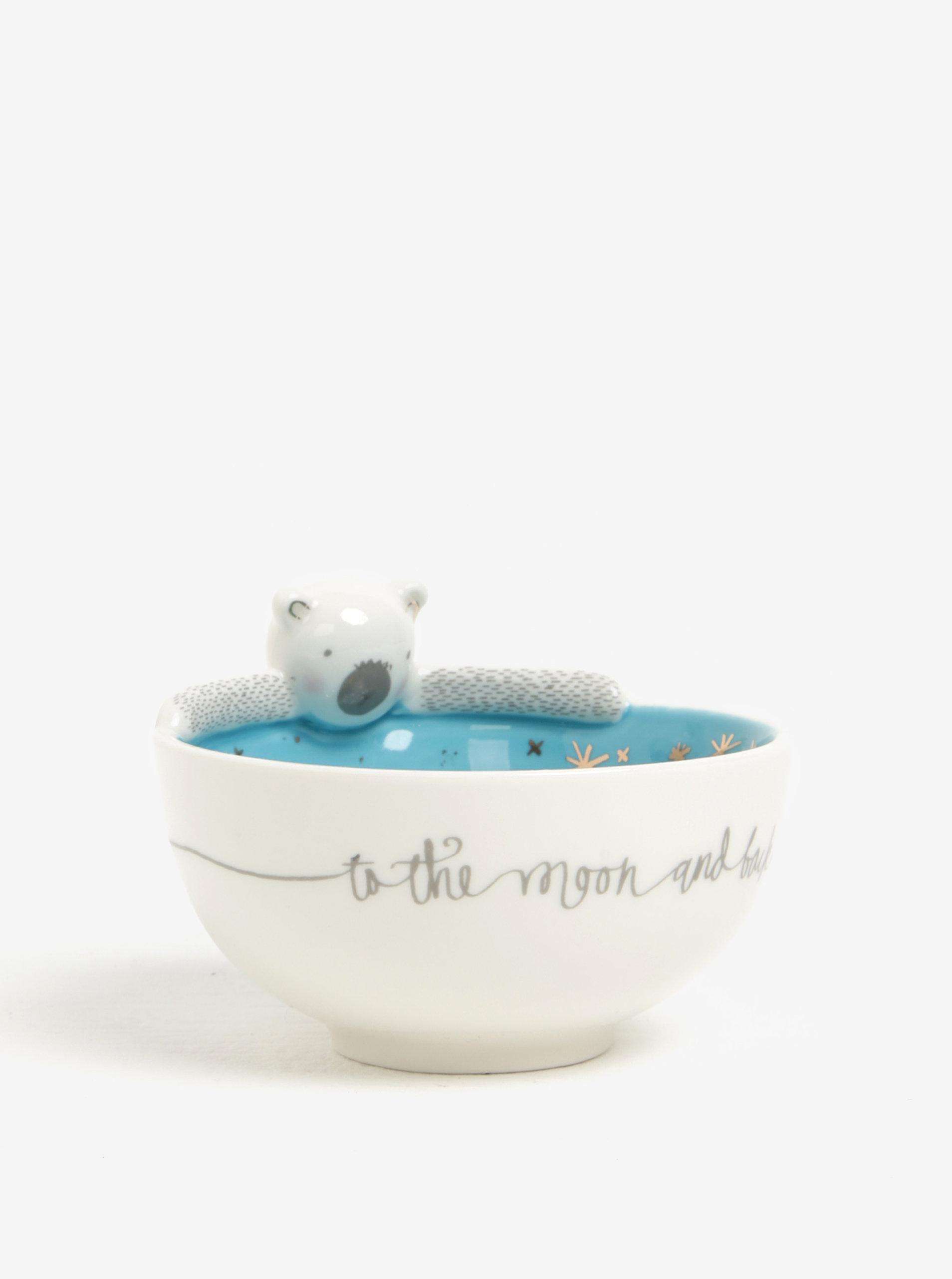 Modro-krémová miska s medvídkem Disaster Over The Moon Bear