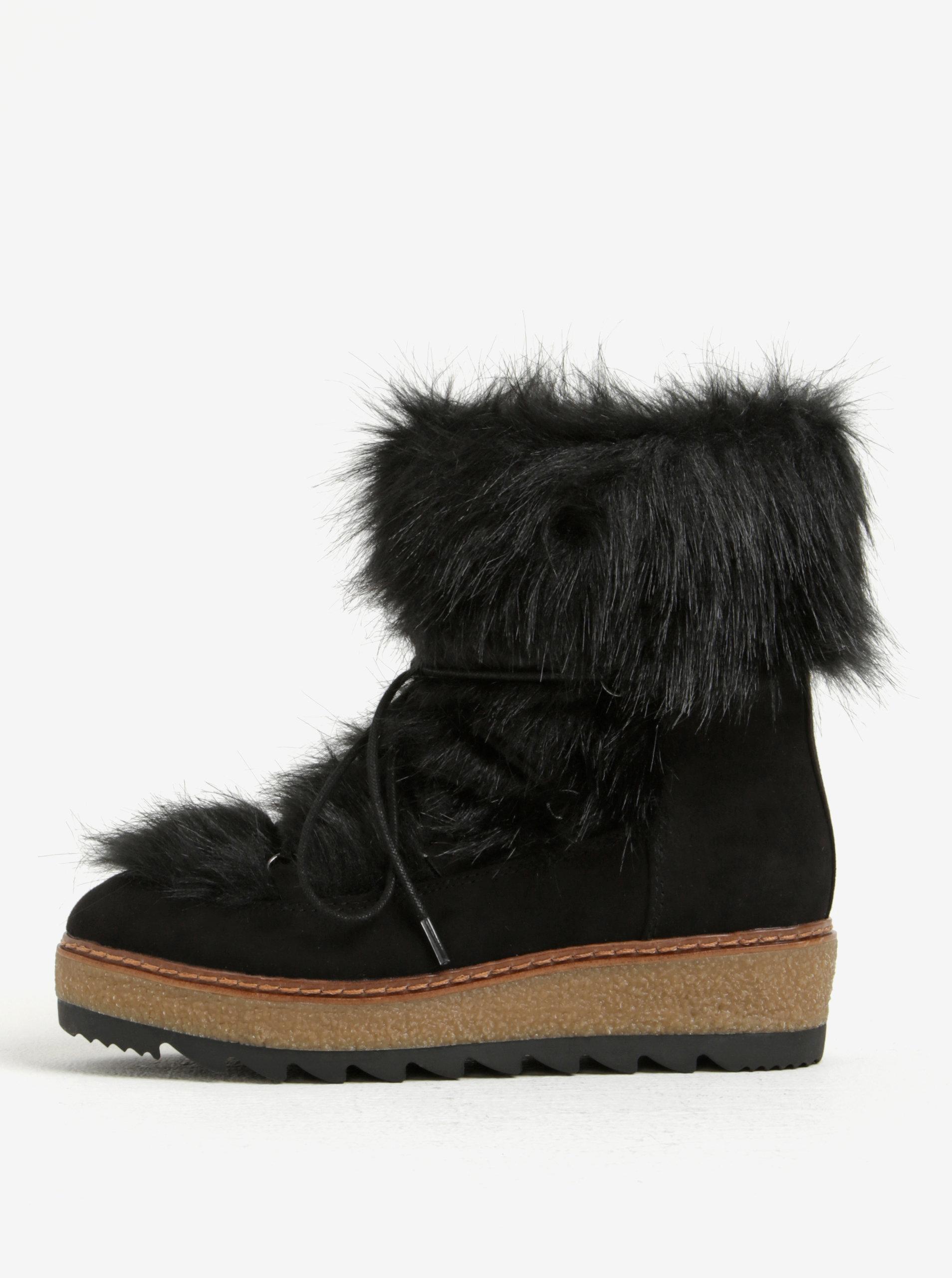 Čierne zimné čižmy s umelou kožušinou Tamaris ... f3d0373a482