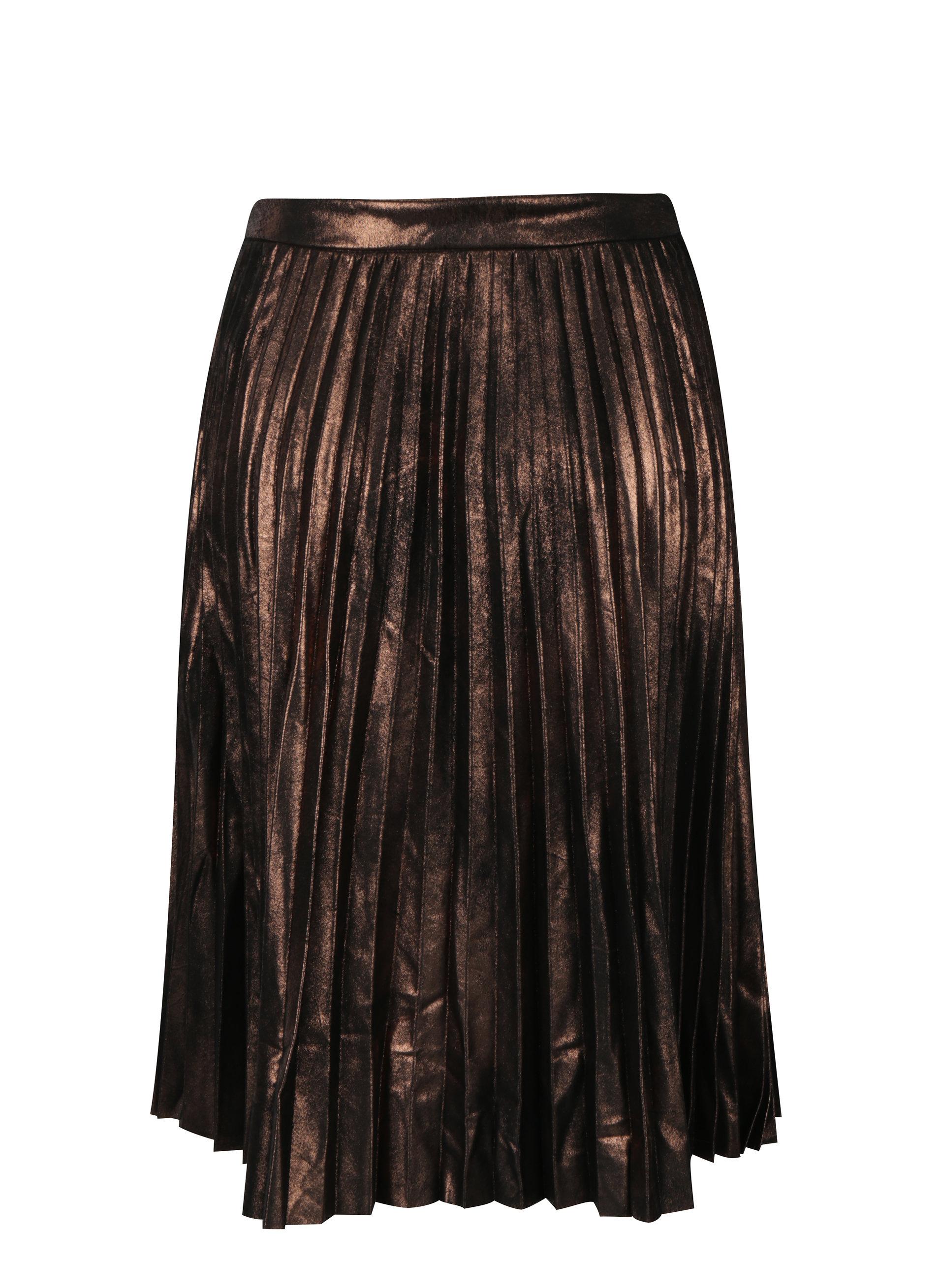 aa3bee72e448 Hnědá metalická plisovaná sukně ONLY Joyce ...