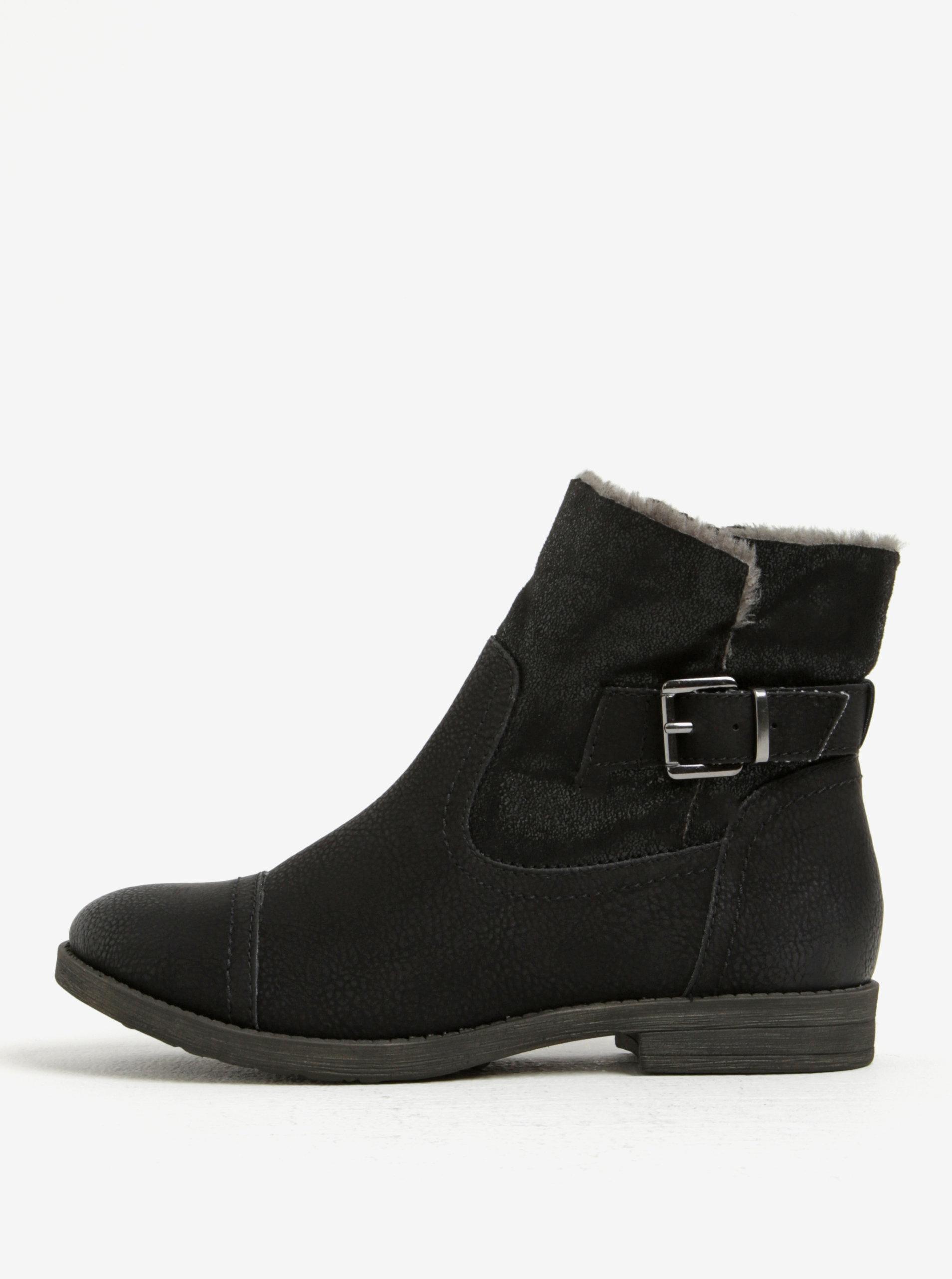 Čierne zimné členkové topánky s umelou kožušinou Tamaris ... 04364edc89c