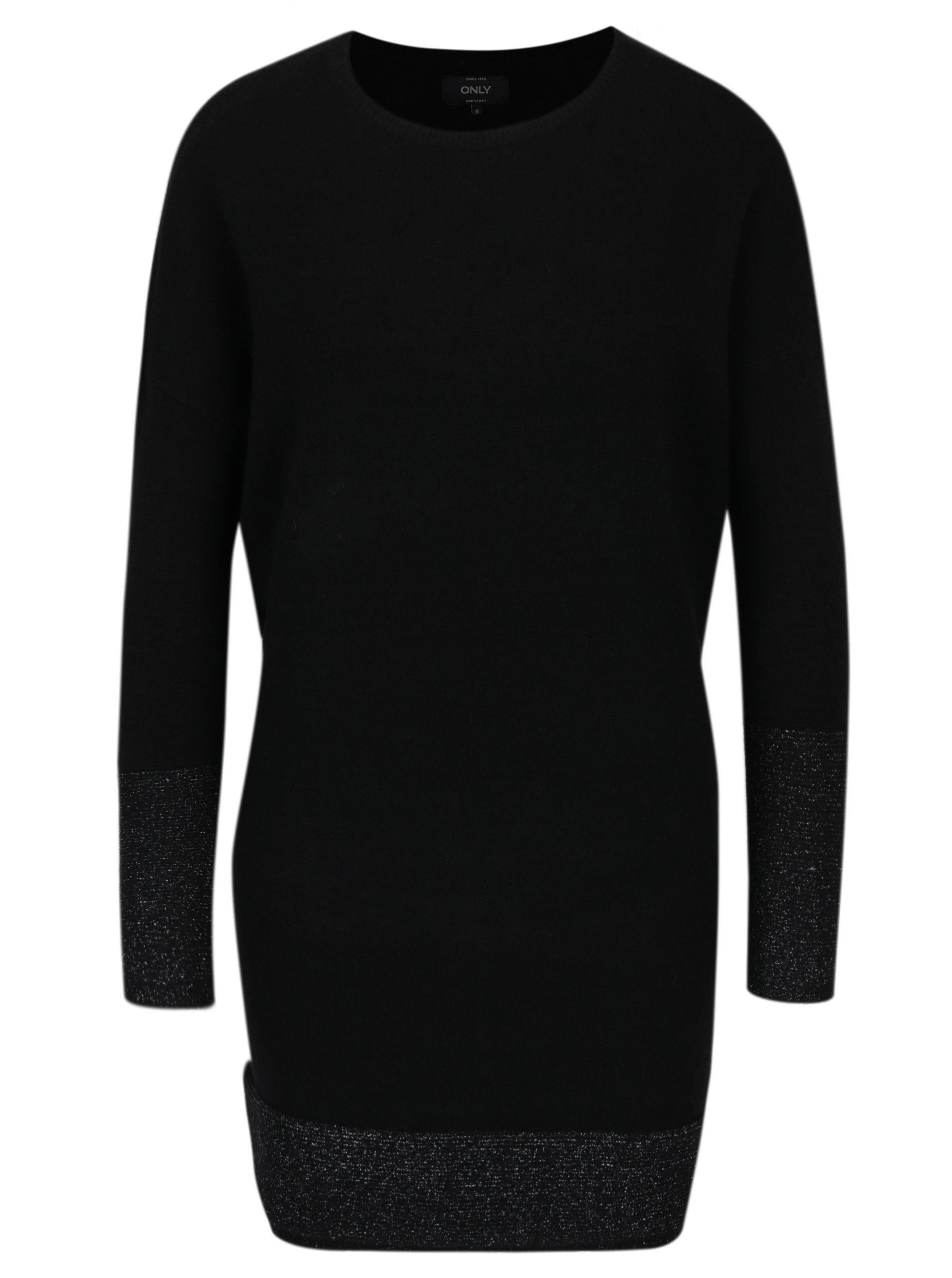 ab0c43f8294 Černé svetrové šaty s třpytivými detaily ONLY Lily ...