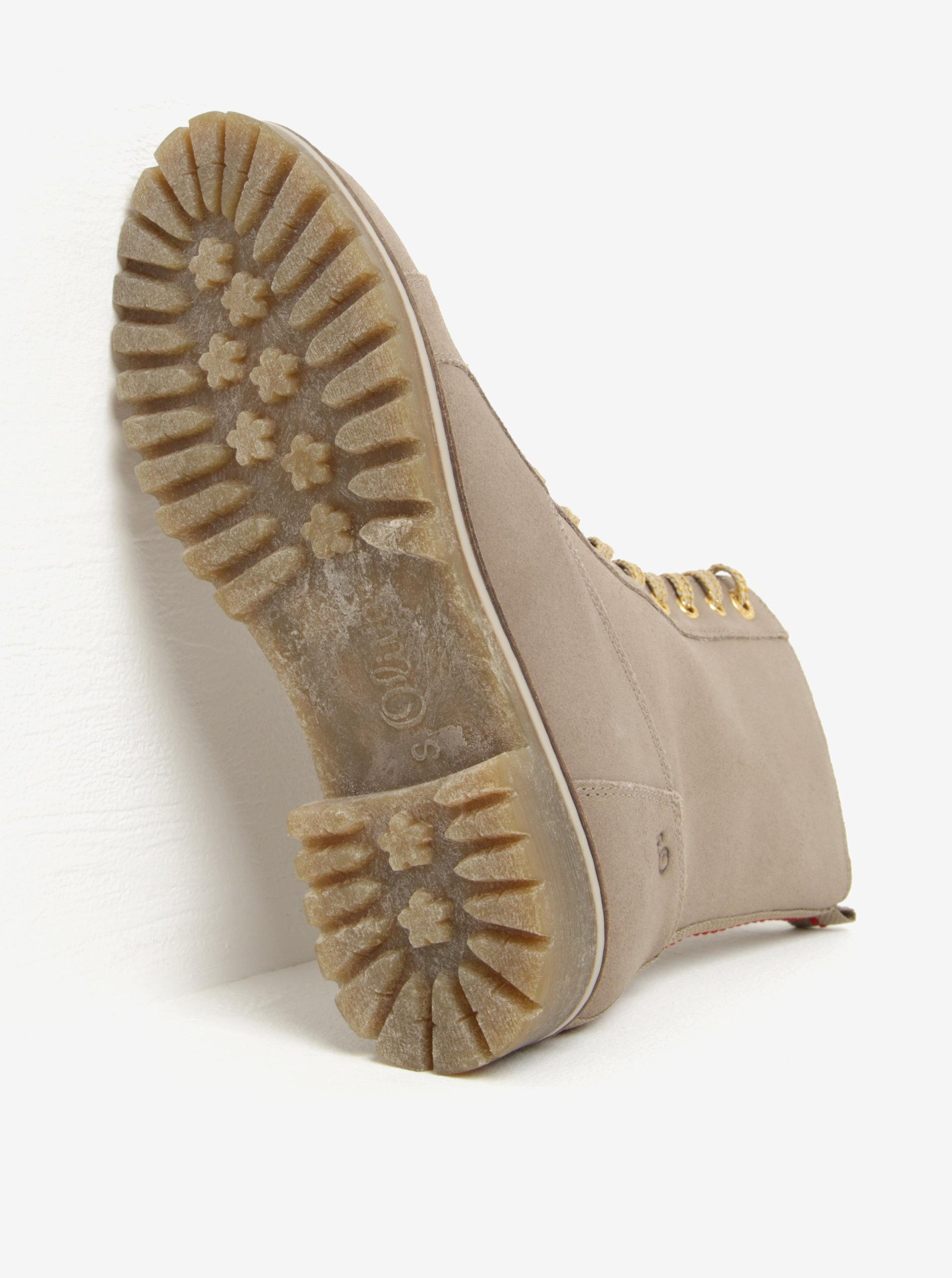 561b9b0d946 Béžové dámské kožené zimní kotníkové boty s.Oliver