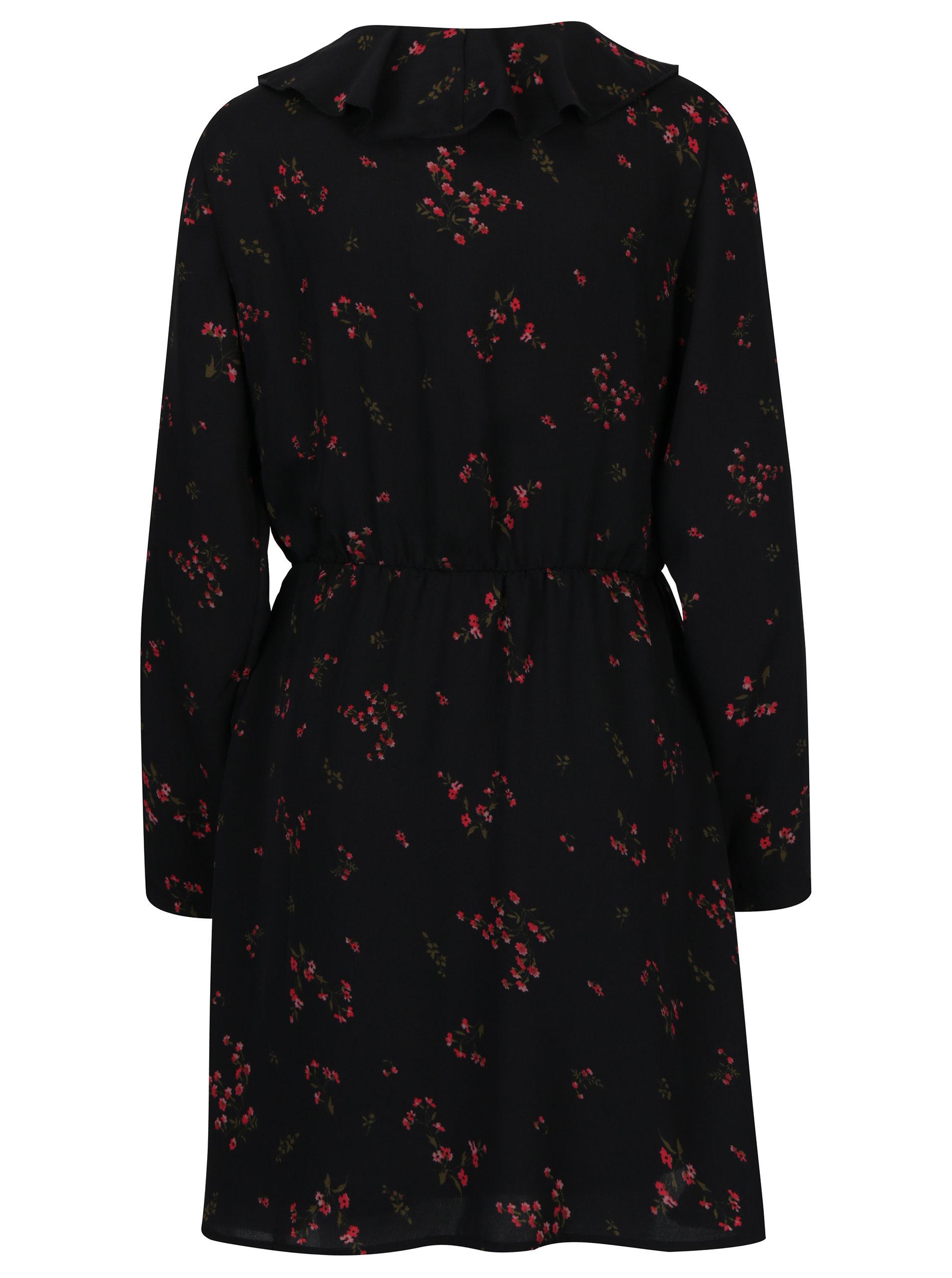 98fea0f19160 Černé květované šaty s volánem VERO MODA Parisan ...