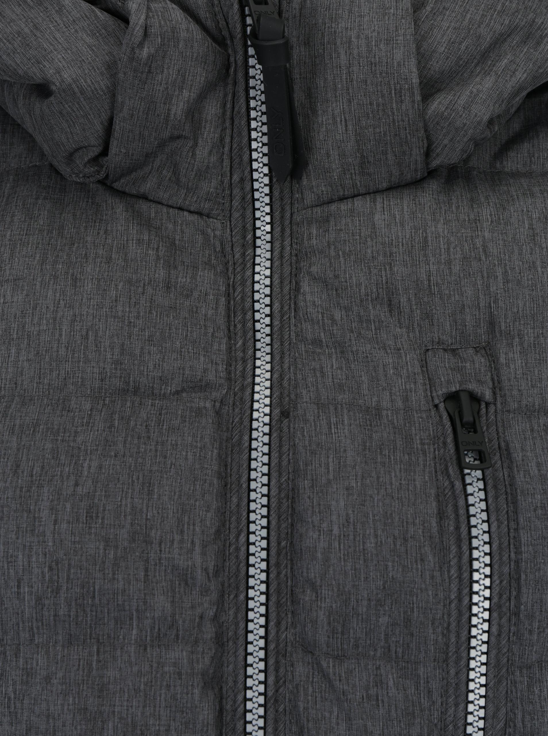 Sivý prešívaný kabát s kapucňou ONLY Dana ... e55e18ab5be