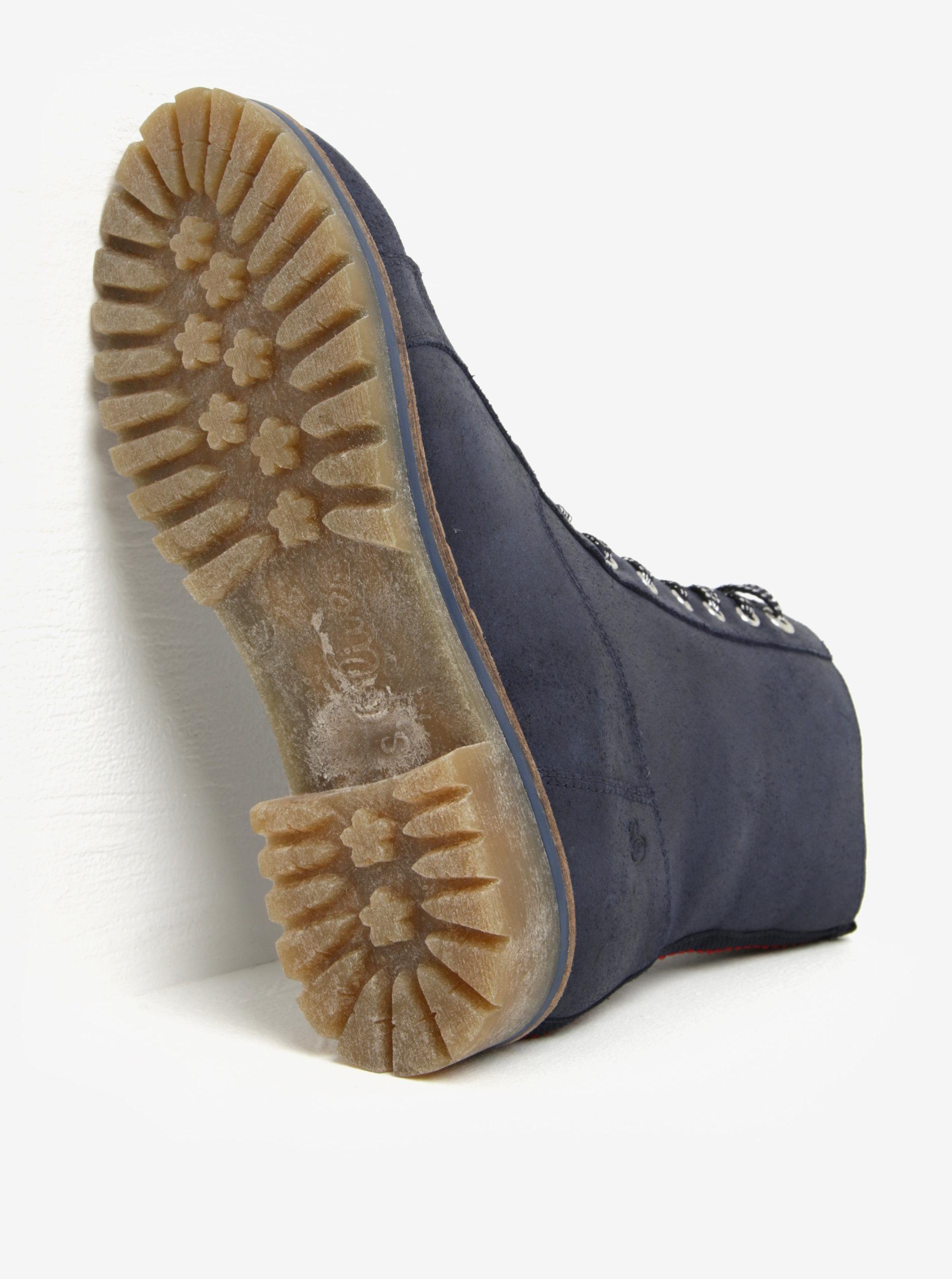 Tmavomodré dámske kožené zimné členkové topánky s.Oliver ... 602207cb33b