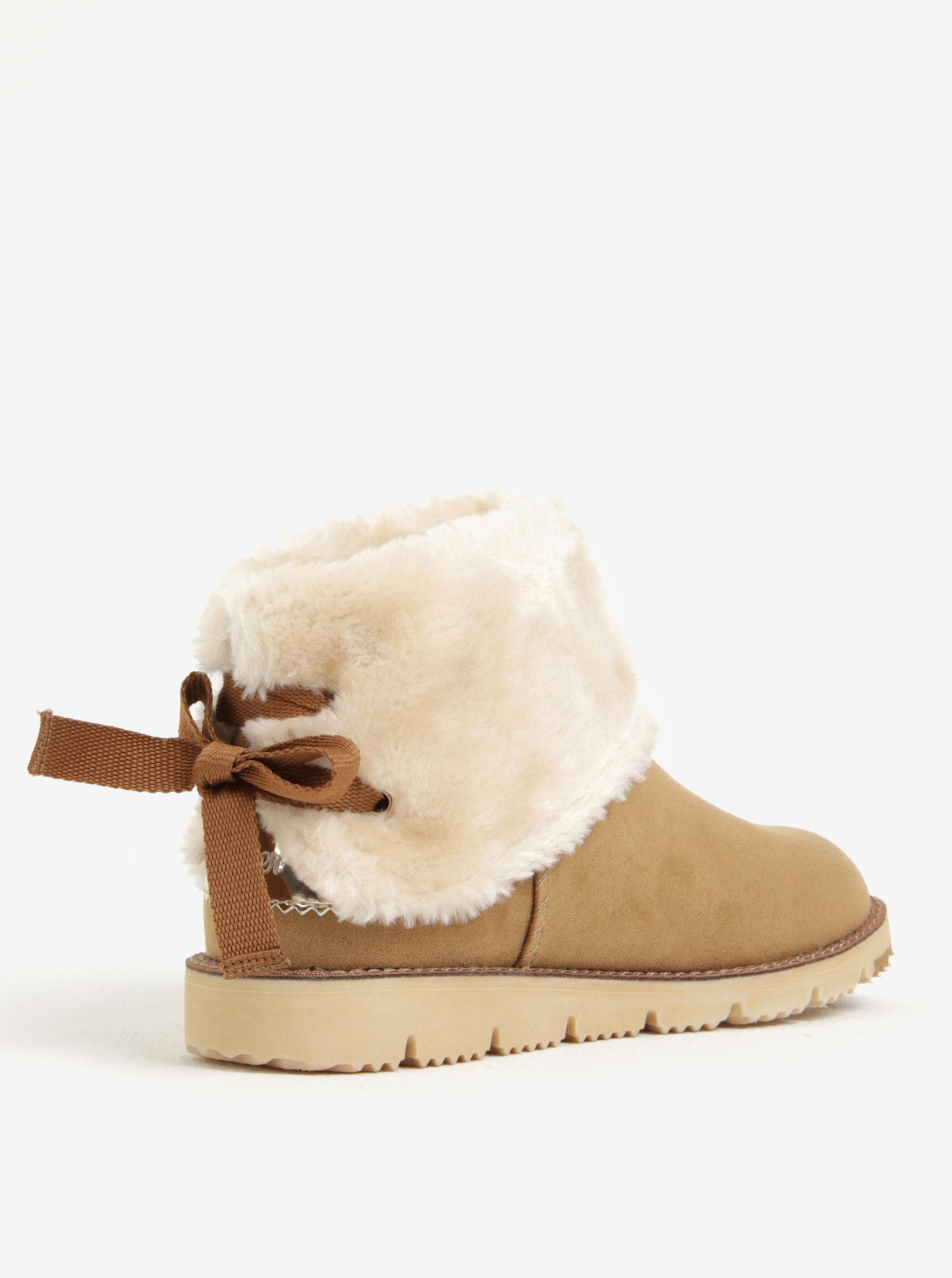 295ab014ef Svetlohnedé dámske zimné členkové topánky v semišovej úprave s ...