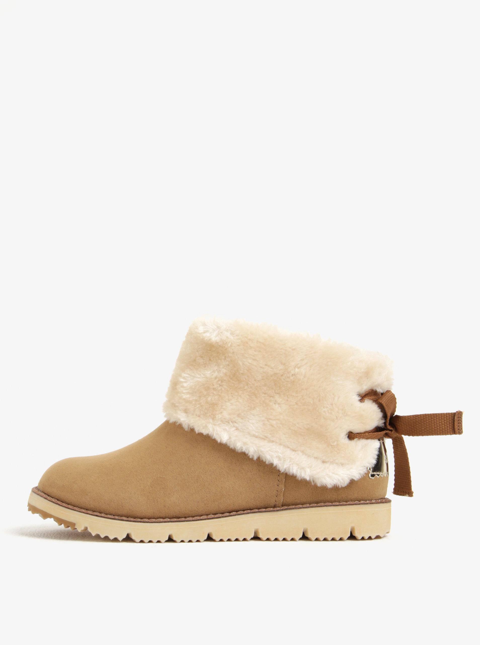 251c870adf0a Svetlohnedé dámske zimné členkové topánky v semišovej úprave s ...