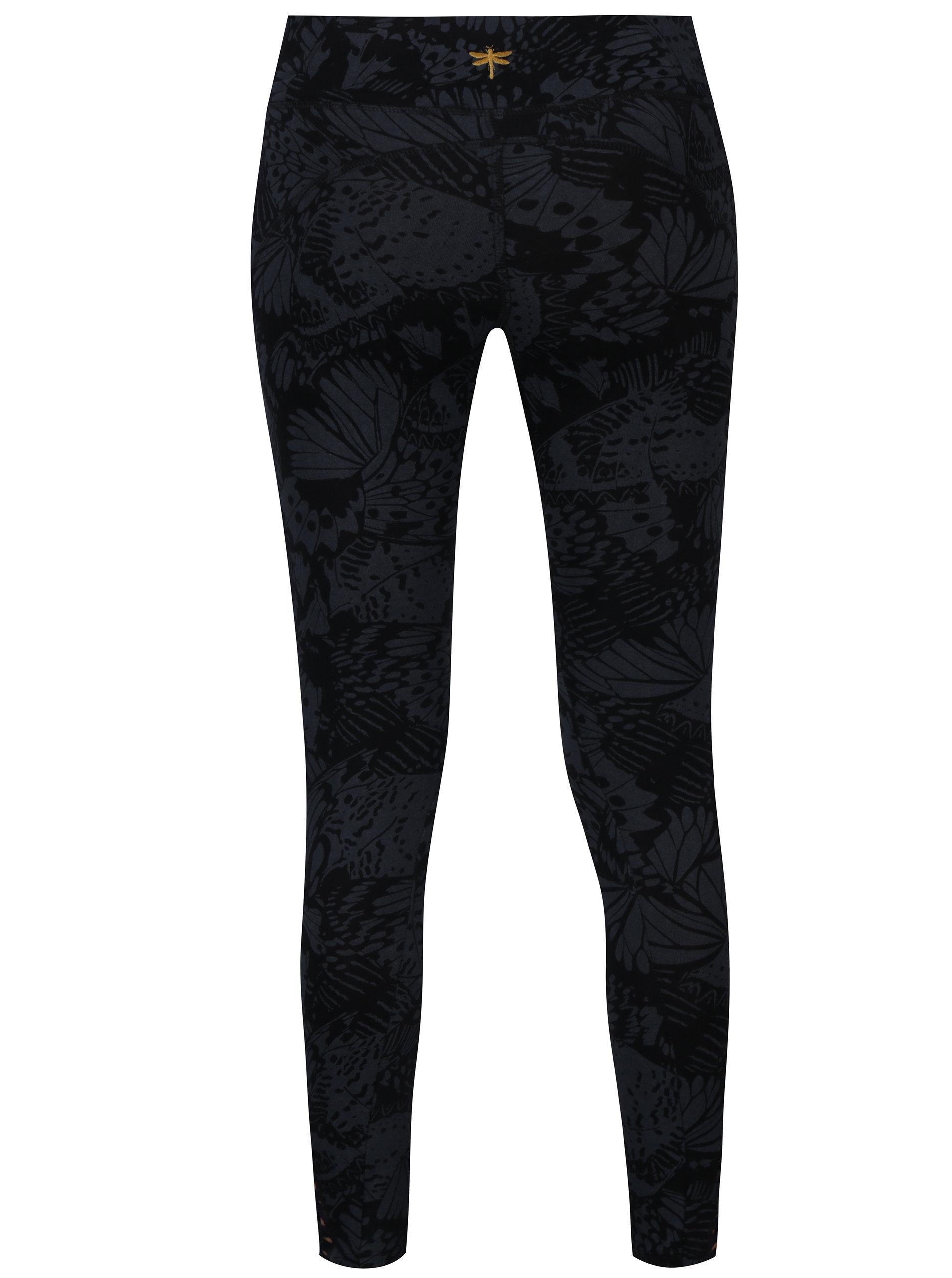 Černé sportovní vzorované legíny s pásky na nohavicích Desigual Sport ... ded285b6bf