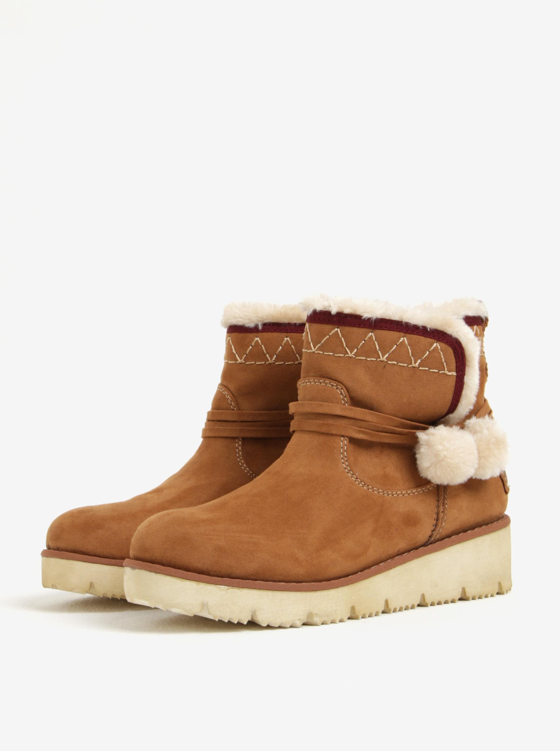 df24c1cf90 Hnedé dámske zimné členkové topánky v semišovej úprave na platforme ...