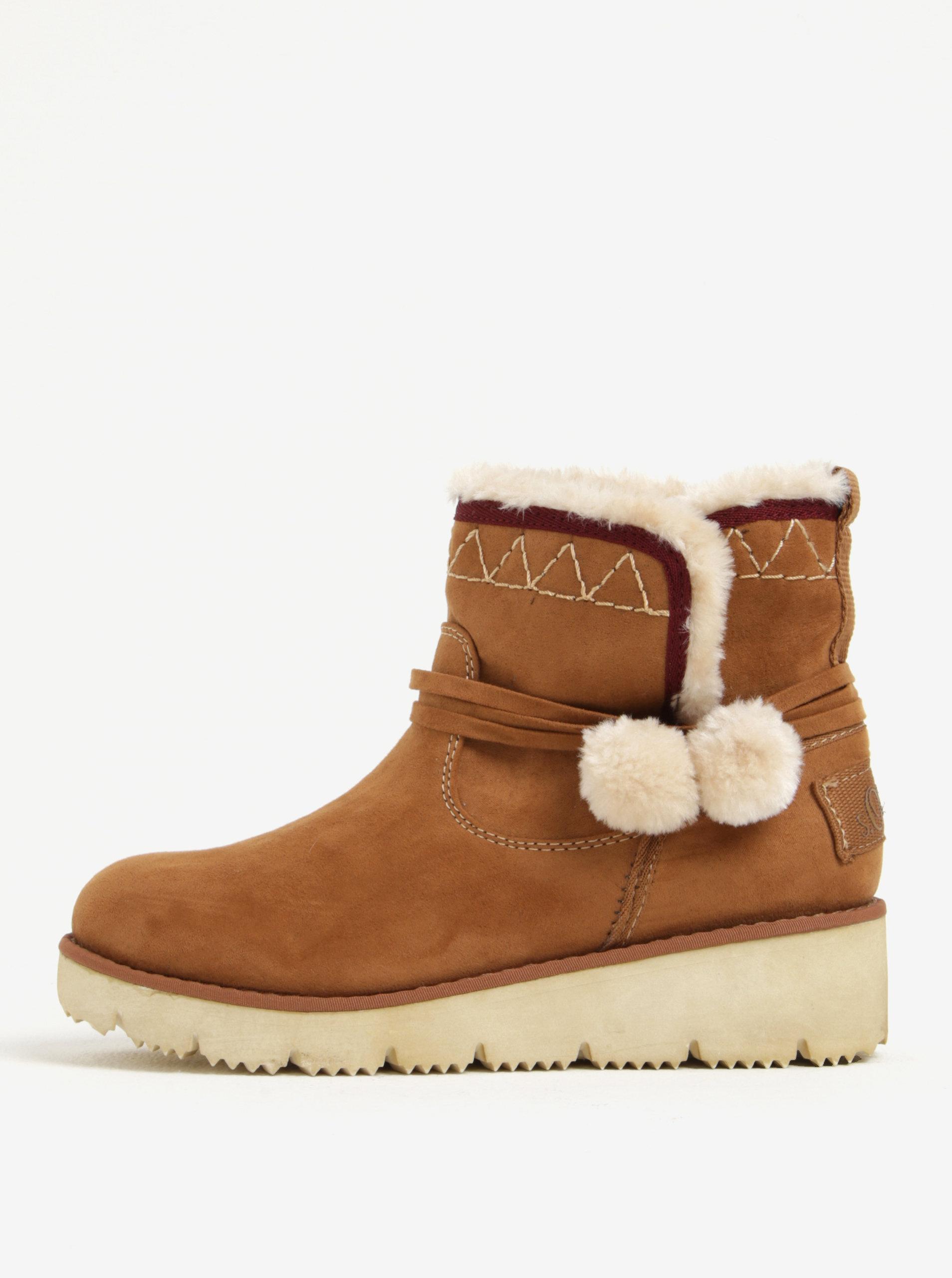 5b8091b3d4 Hnedé dámske zimné členkové topánky v semišovej úprave na platforme ...