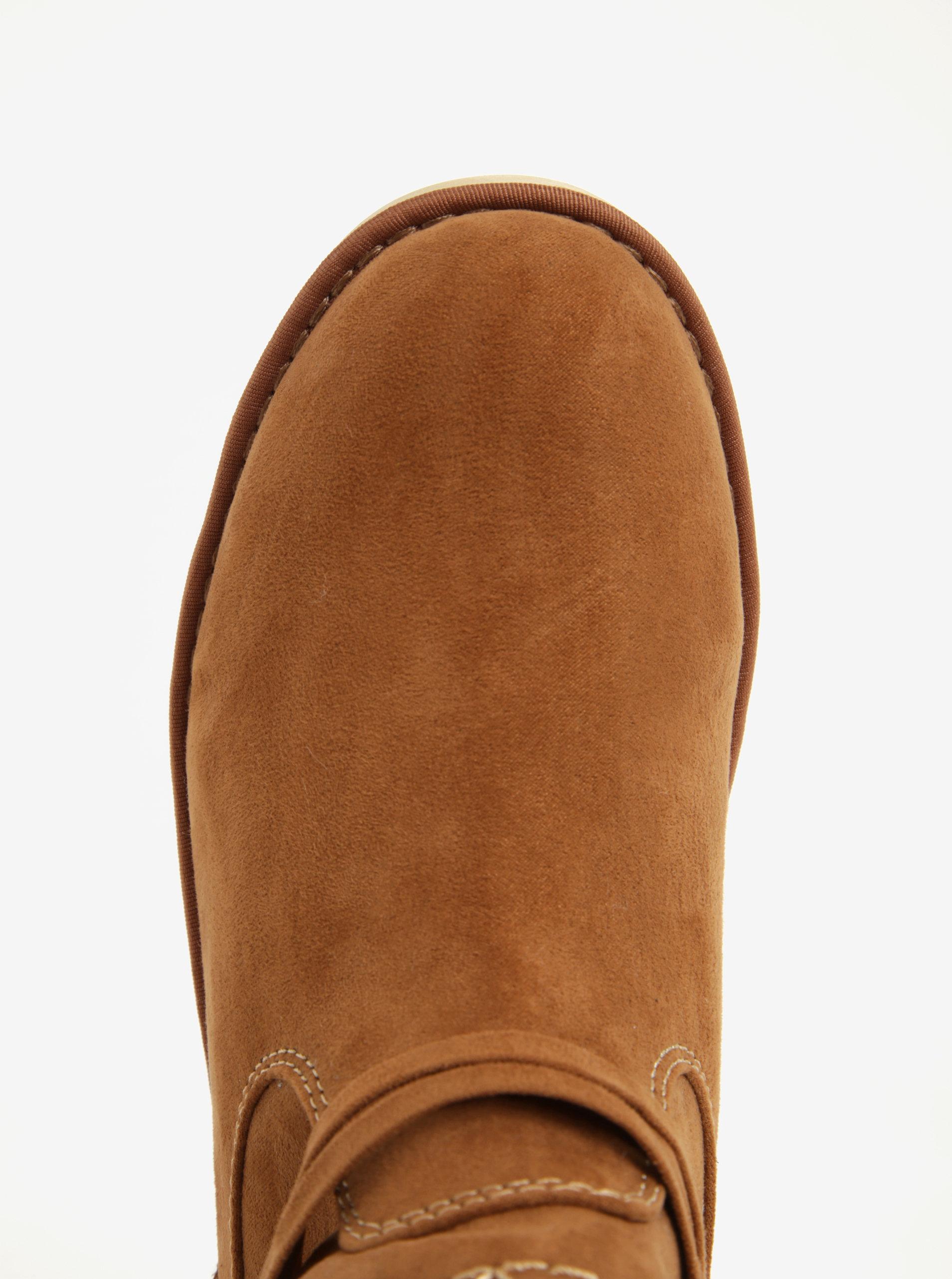 b3b821ff4d92c Hnedé dámske zimné členkové topánky v semišovej úprave na platforme ...