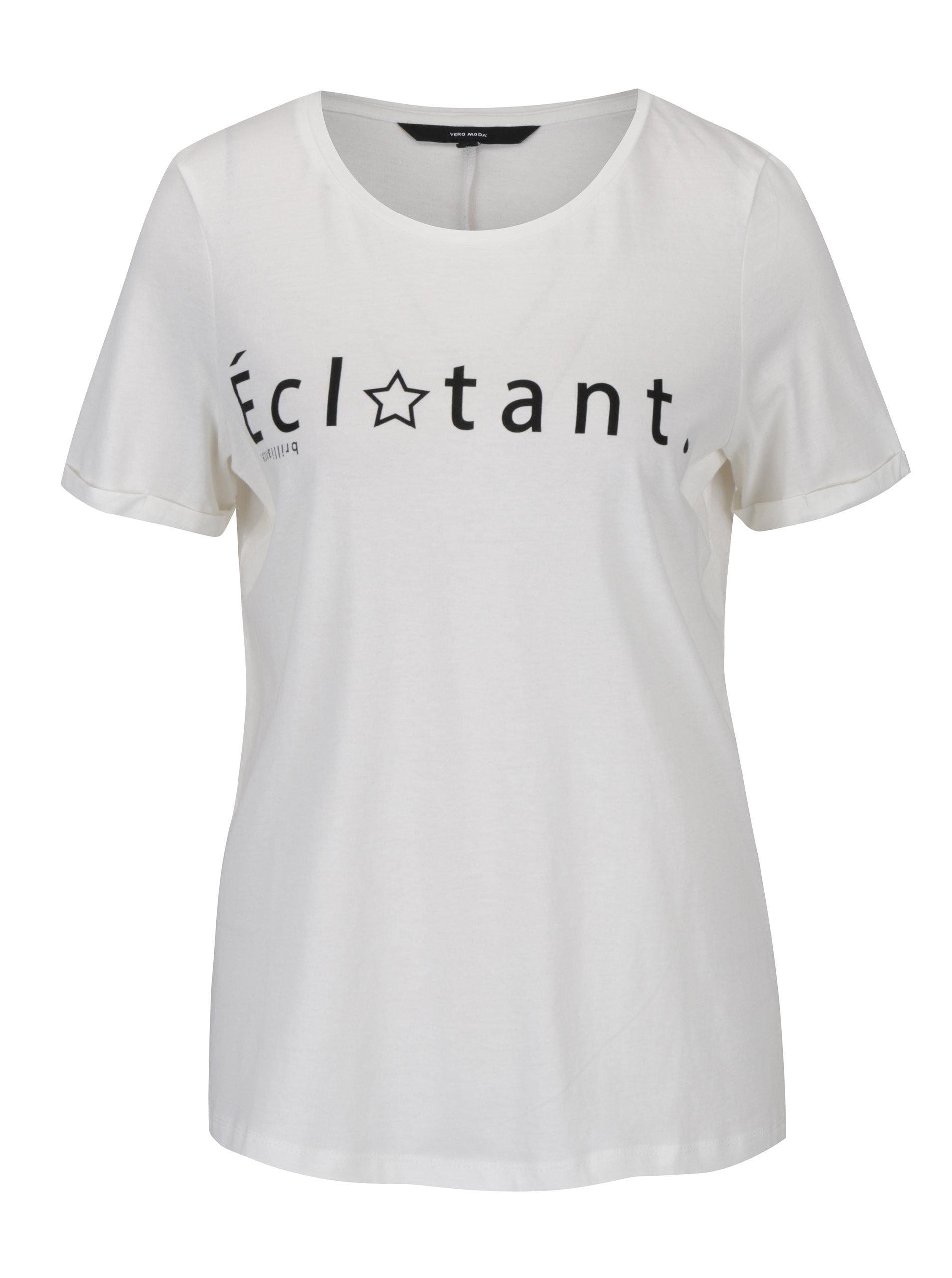 4d3f4942b5 Krémové tričko s potlačou a krátkym rukávom VERO MODA Chick ...