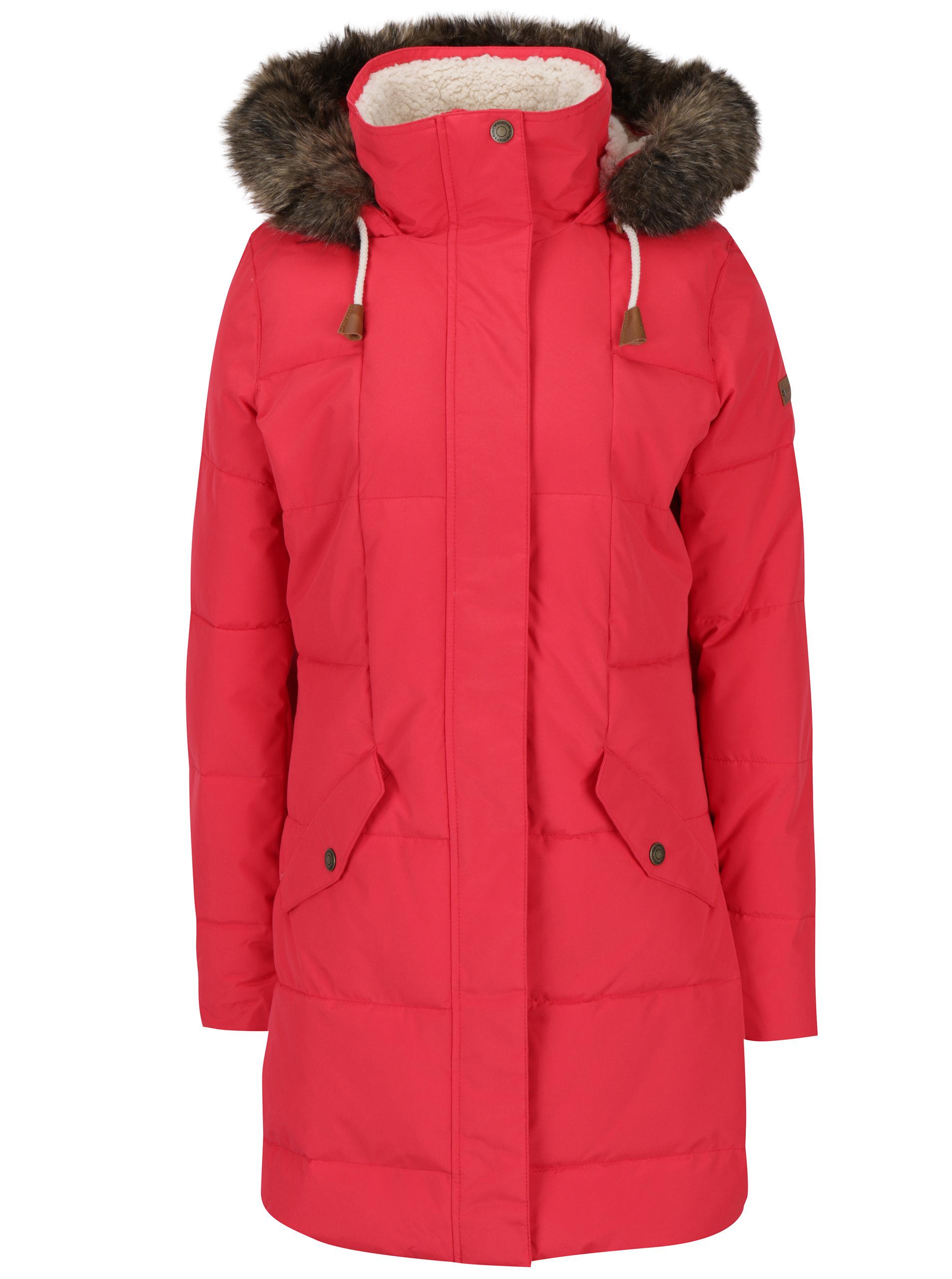 87f9f815741 Červený dámský zimní voděodolný funkční prošívaný kabát Roxy Ellie ...