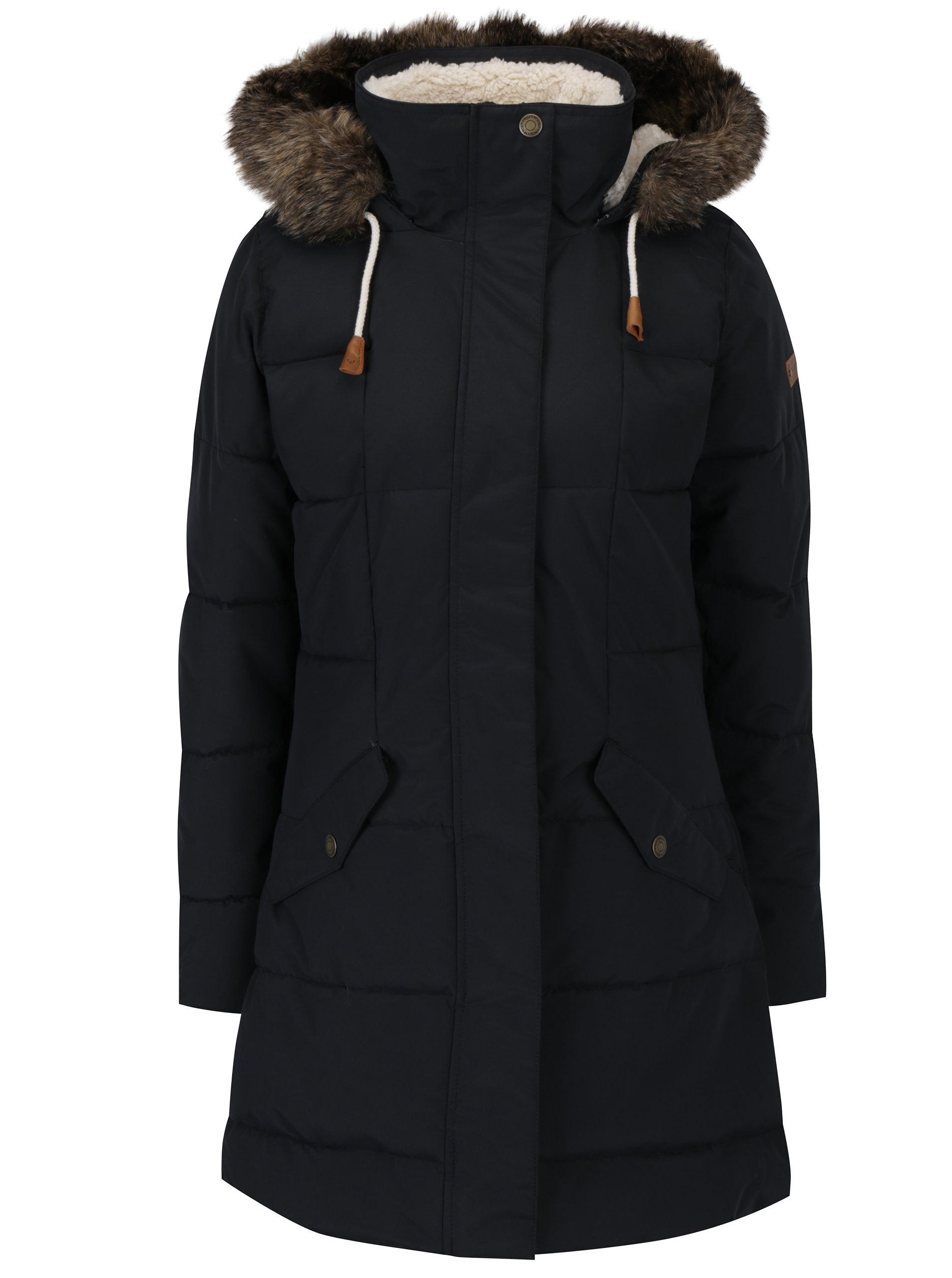 27078647399 Černý dámský zimní voděodolný funkční prošívaný kabát Roxy Ellie ...