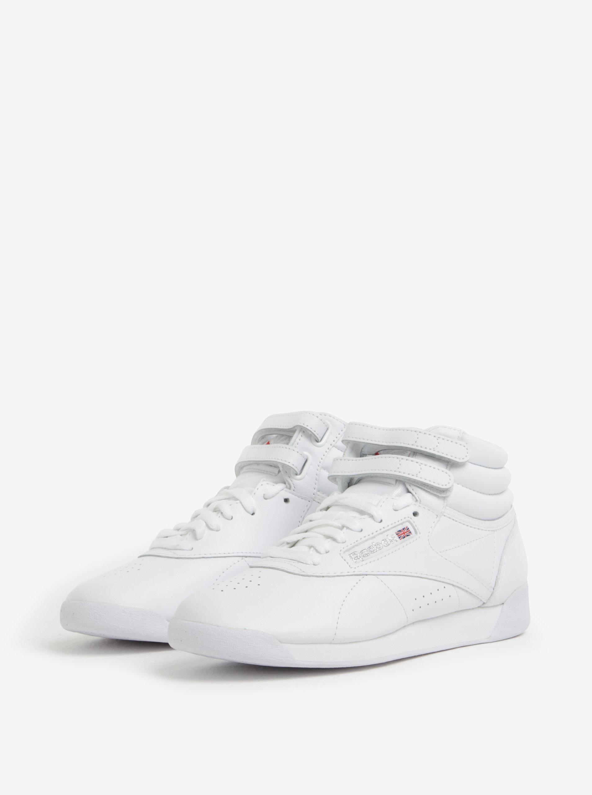 976fc0deeb66 Biele dámske kožené členkové tenisky s prackou Reebok ...