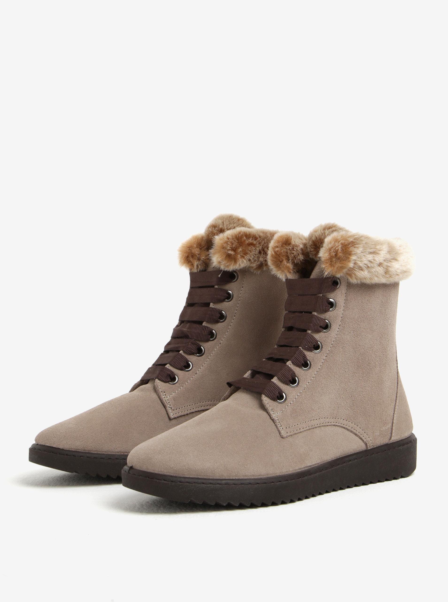7659b734c9 Sivé semišové členkové topánky s umelým kožúškom OJJU ...